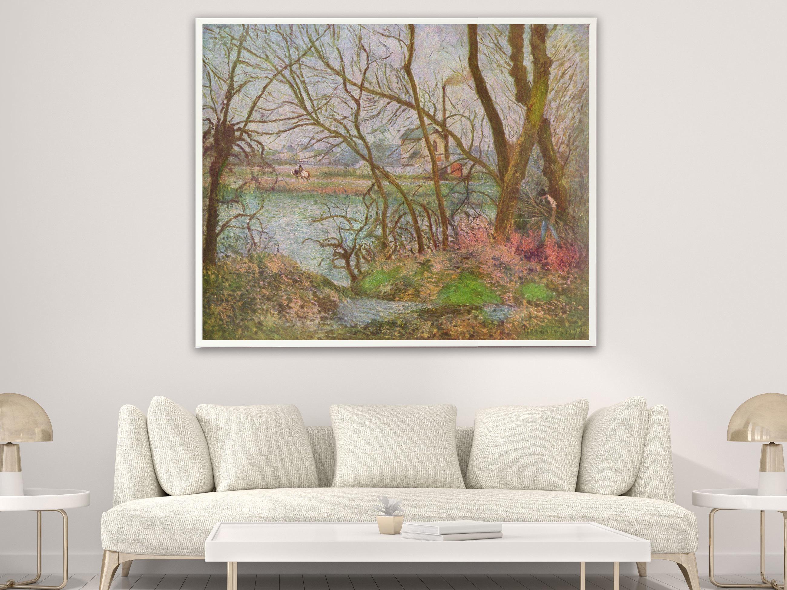 Camille Pissarro - Holzfäller von 1878, Bilderrahmen weiß