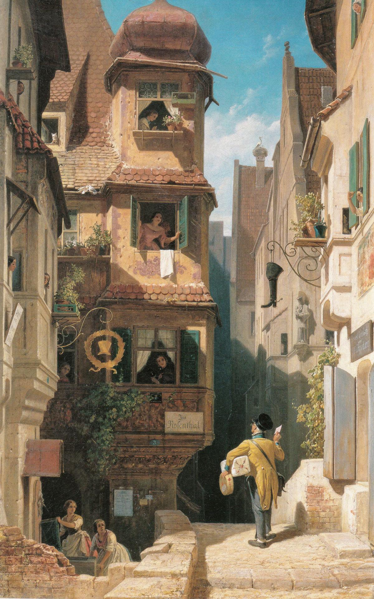 Carl Spitzweg - Der Briefbote im Rosenthal, 1858