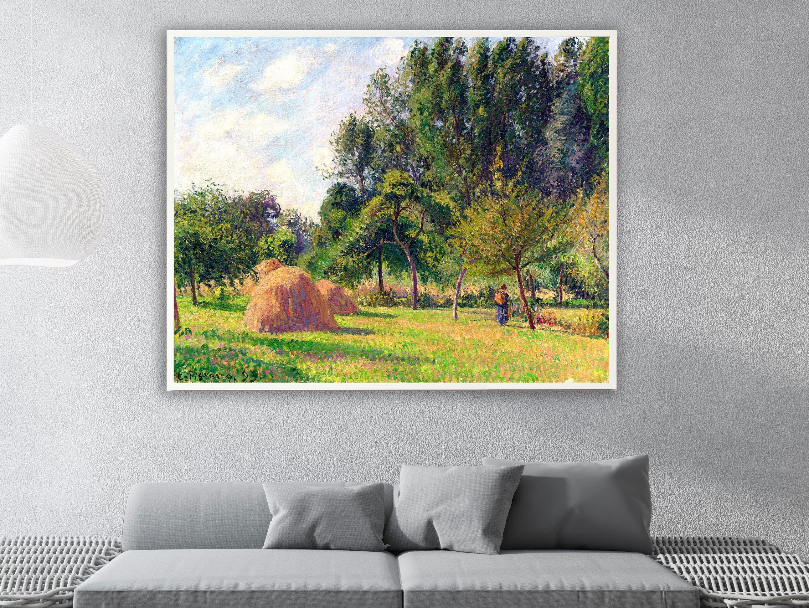 Camille Pissarro - Heuhaufen am Morgen Eragny in Frankreich, Bilderrahmen weiß