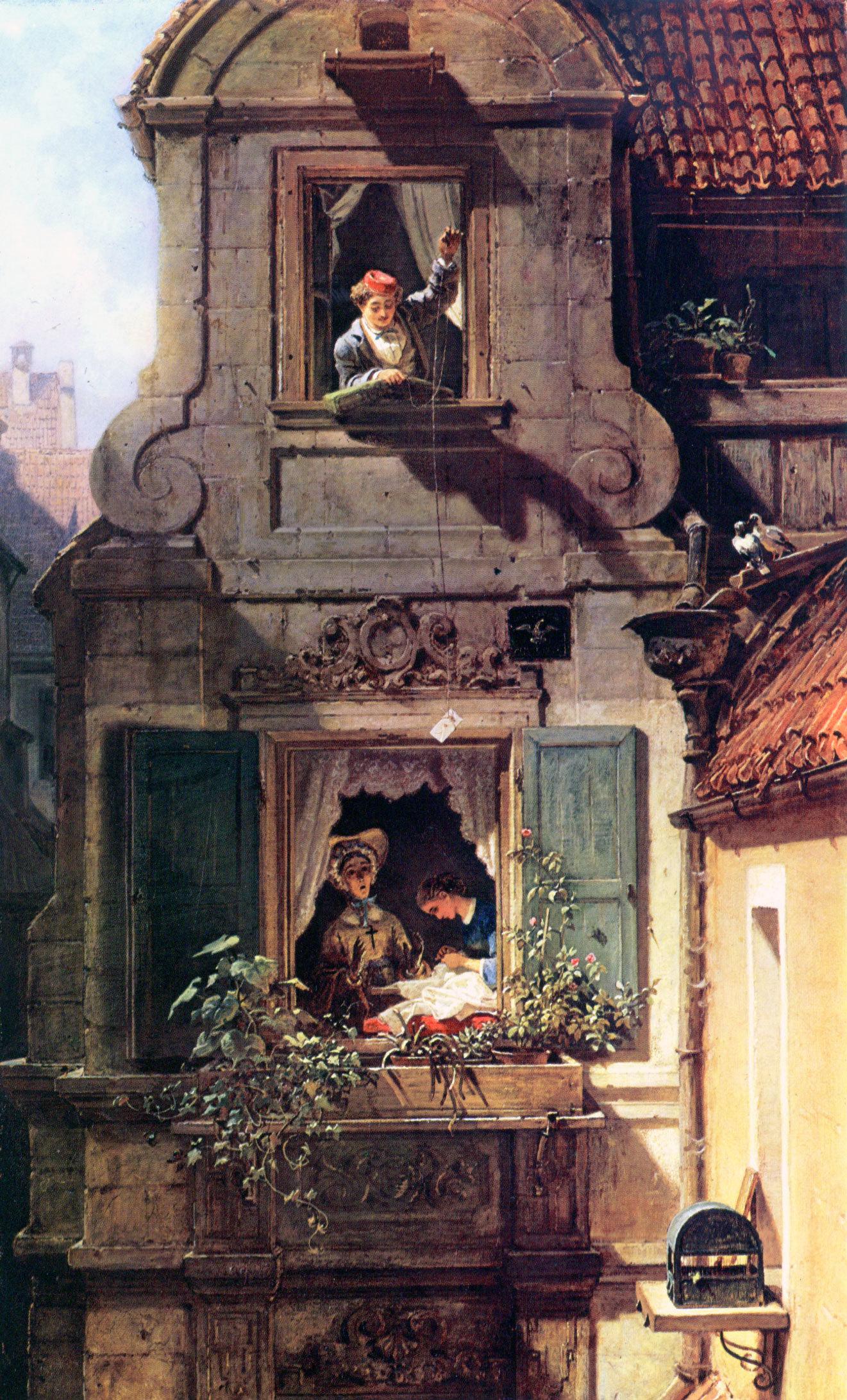 Carl Spitzweg - Der abgefangene Liebesbrief, 1860, Schattenfugenrahmen schwarz
