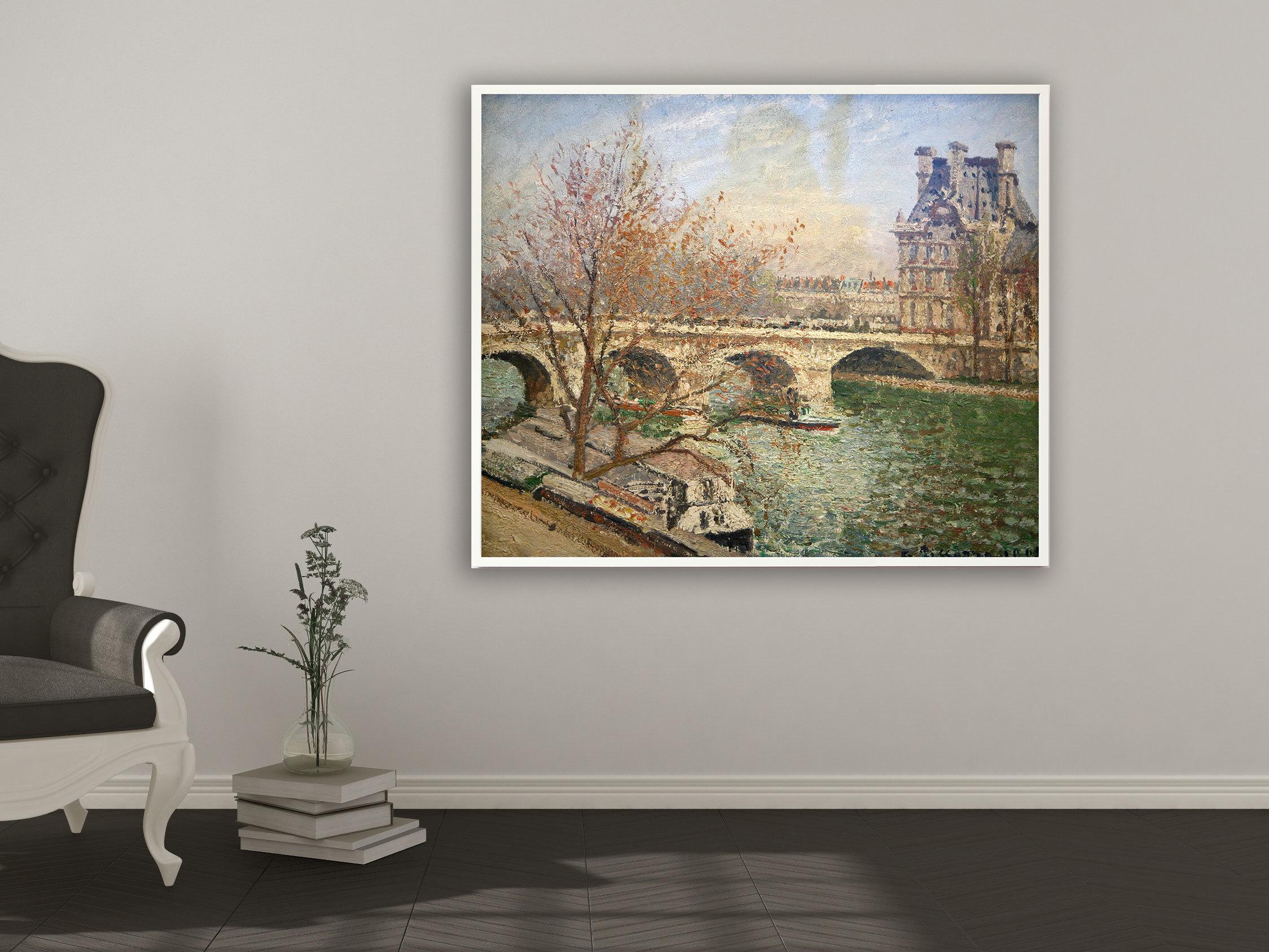 Camille Pissarro - Die königliche Brücke und der Flora Pavillon, Bilderrahmen weiß