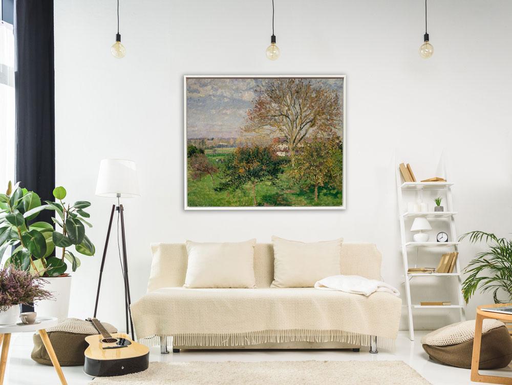 Camille Pissarro - Landschaft Eragny in Frankreich , inkl. Rahmen Schattenfuge weiß