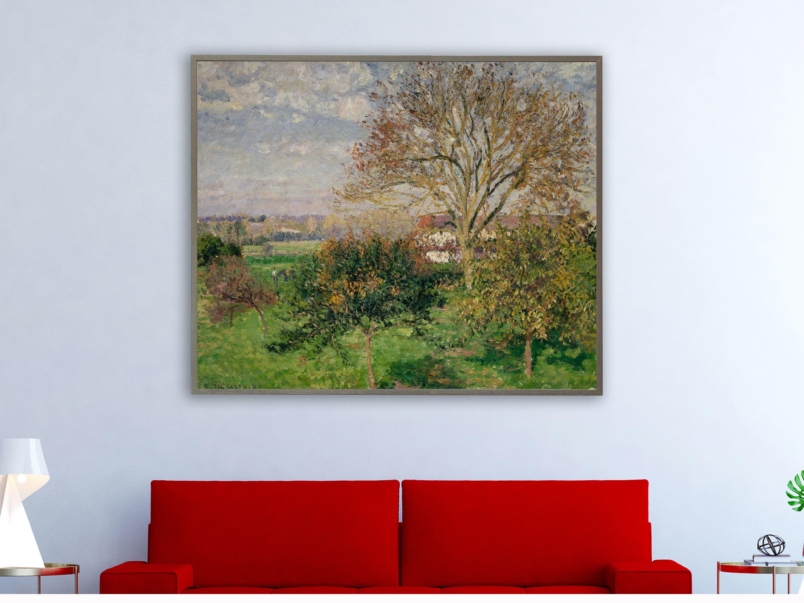 Camille Pissarro - Landschaft Eragny in Frankreich , inkl. Bilderrahmen grau