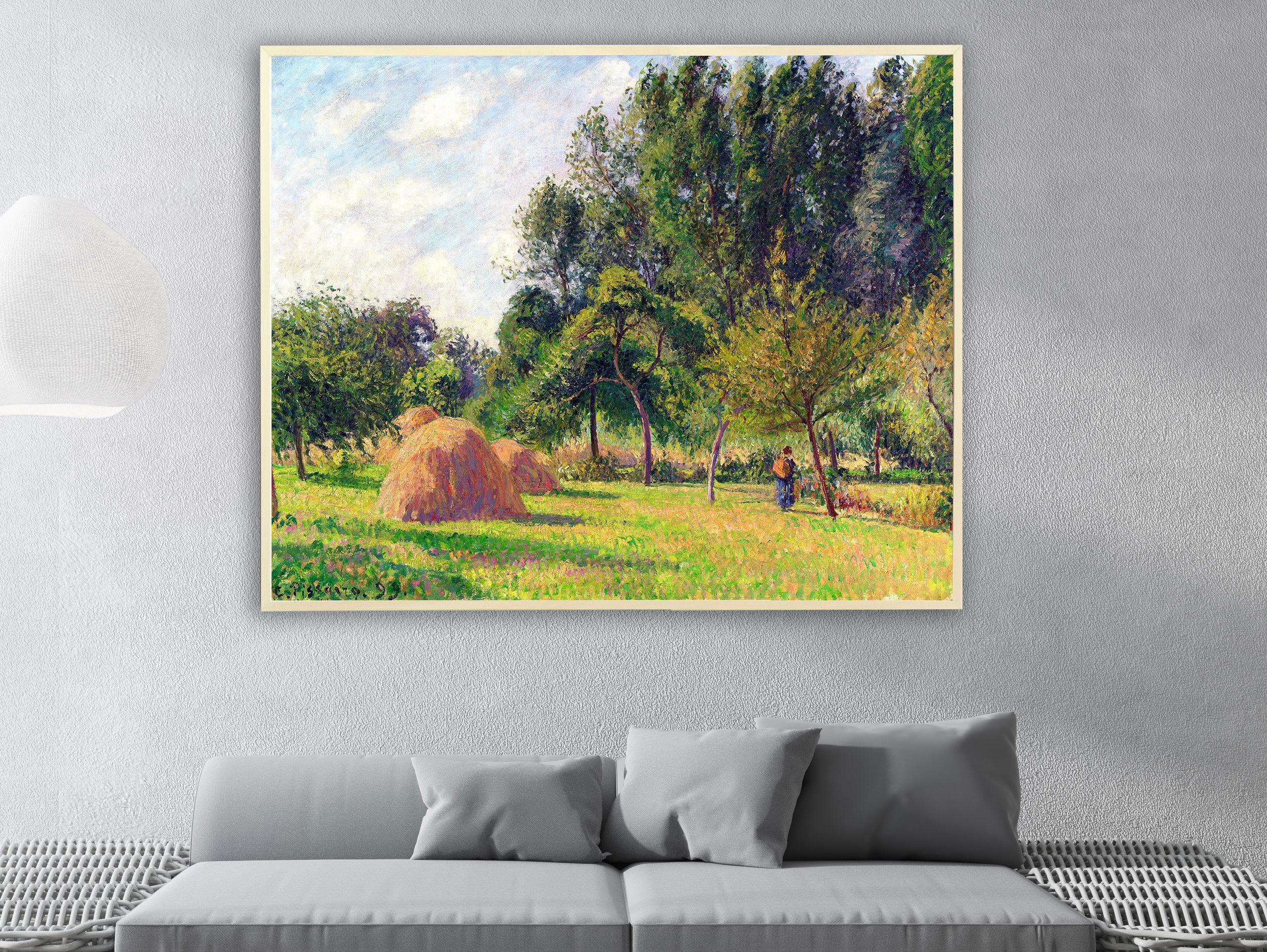 Camille Pissarro - Heuhaufen am Morgen Eragny in Frankreich, Bilderrahmen Ahorn