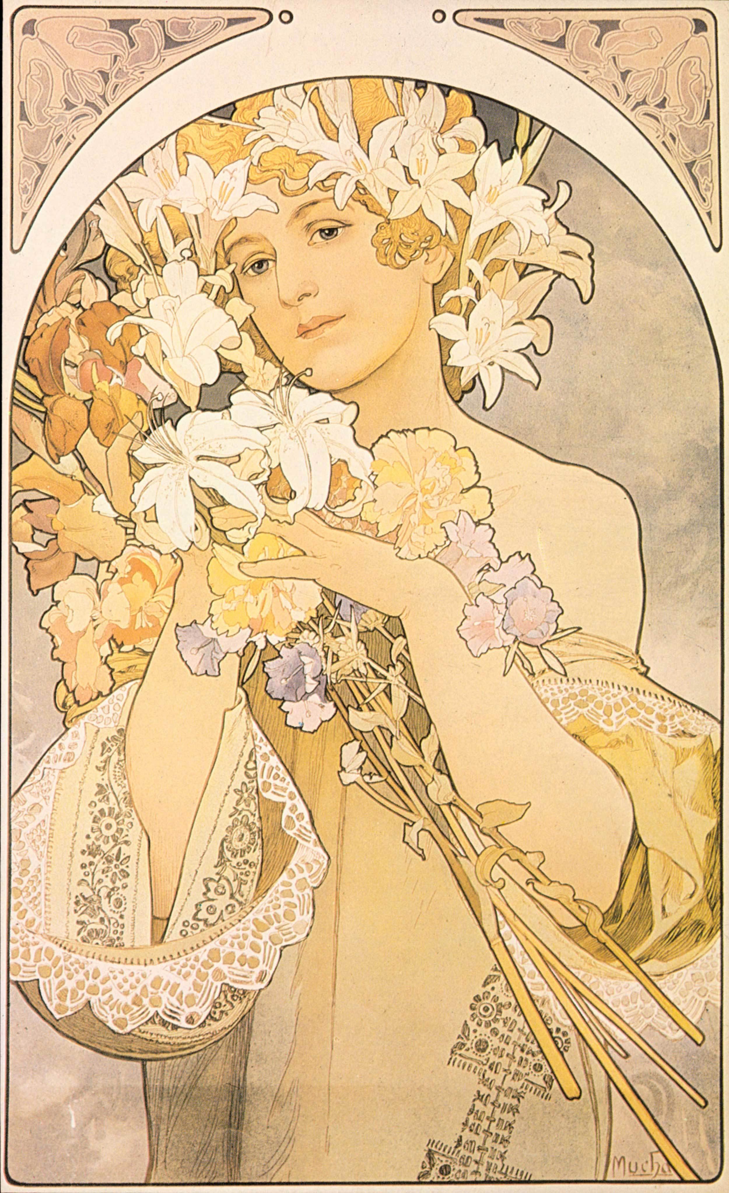 Alfons Mucha - Flowers, 1897, Schattenfugenrahmen Natur