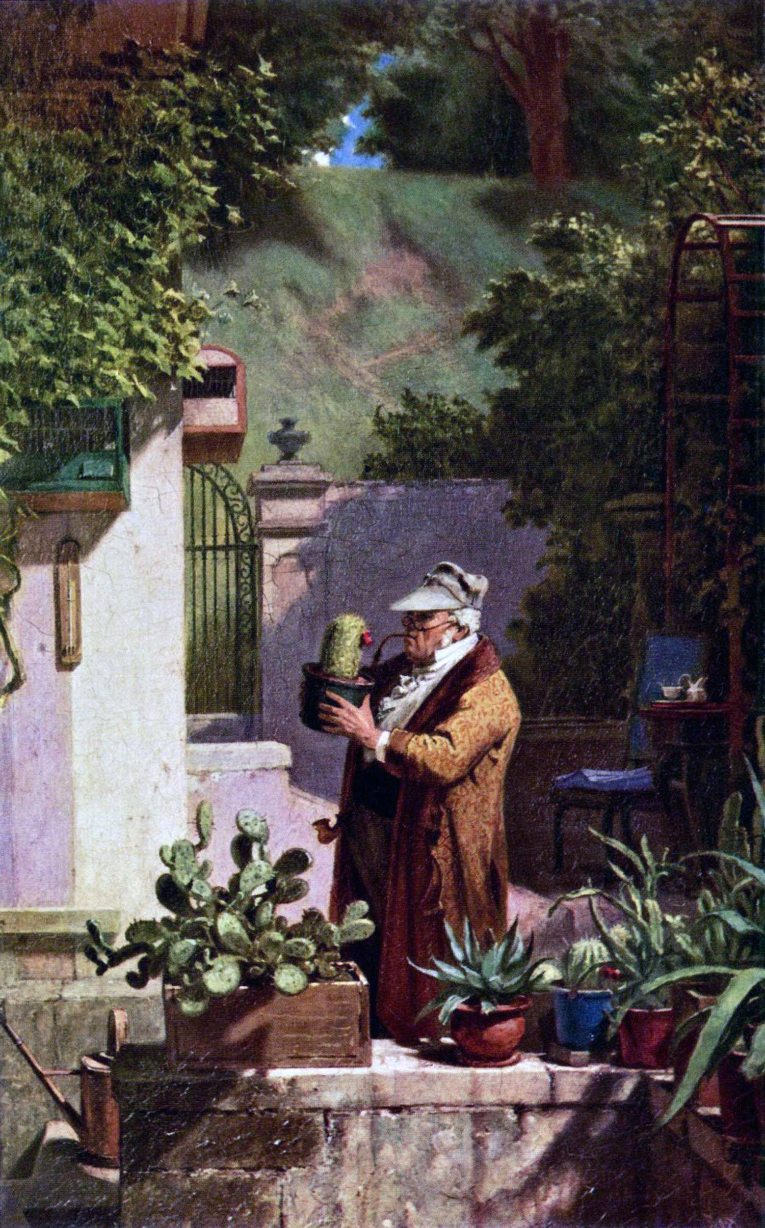 Carl Spitzweg - Der Pfarrer als Kakteenfreund, 1870, Schattenfugenrahmen Natur