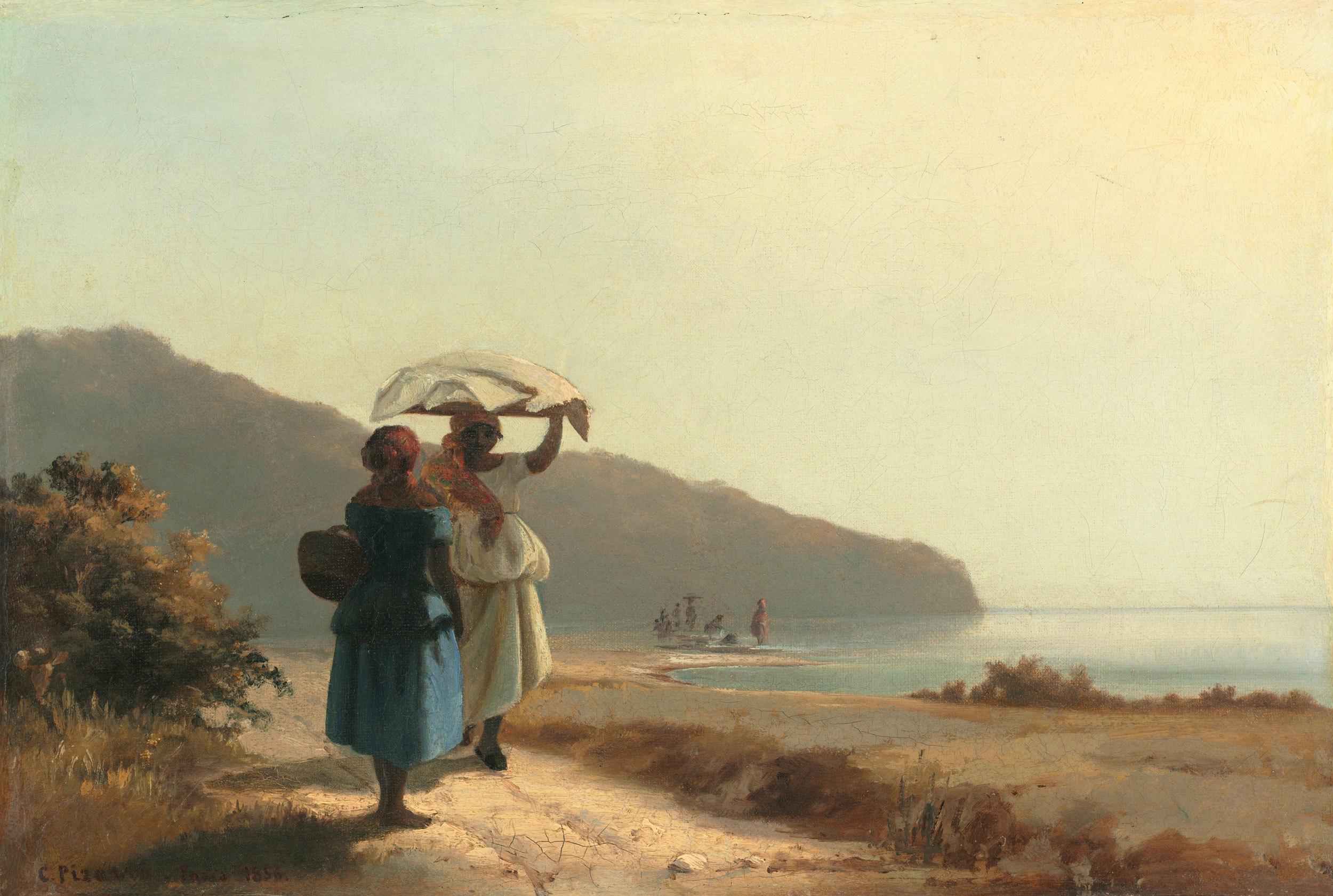 Camille Pissarro - Zwei Frauen am Meer ins Gespräch vertieft, St. Thomas, 1856, Schattenfugenrahmen braun