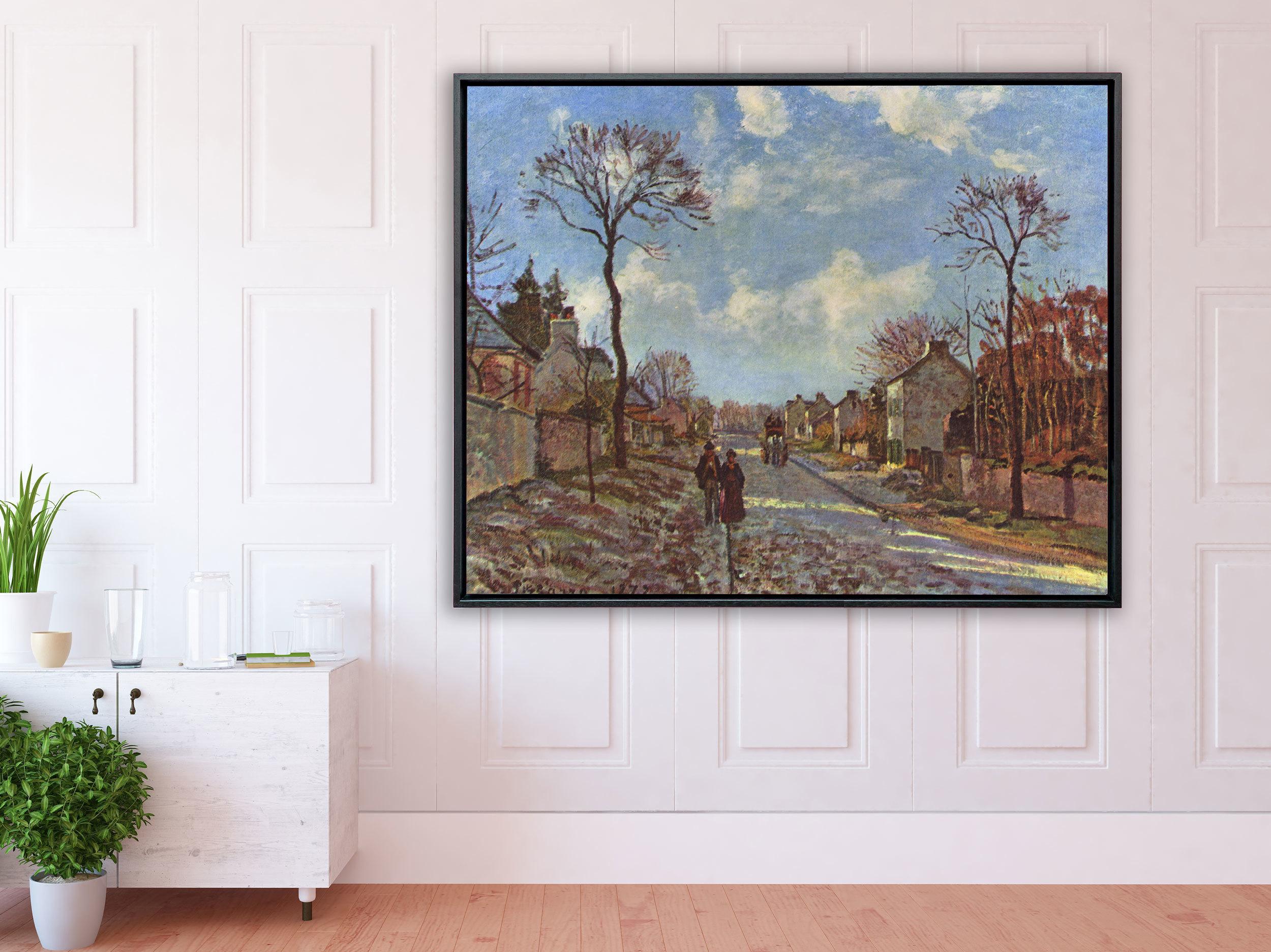 Camille Pissarro - La route de Louveciennes, 1872, Schattenfugenrahmen schwarz