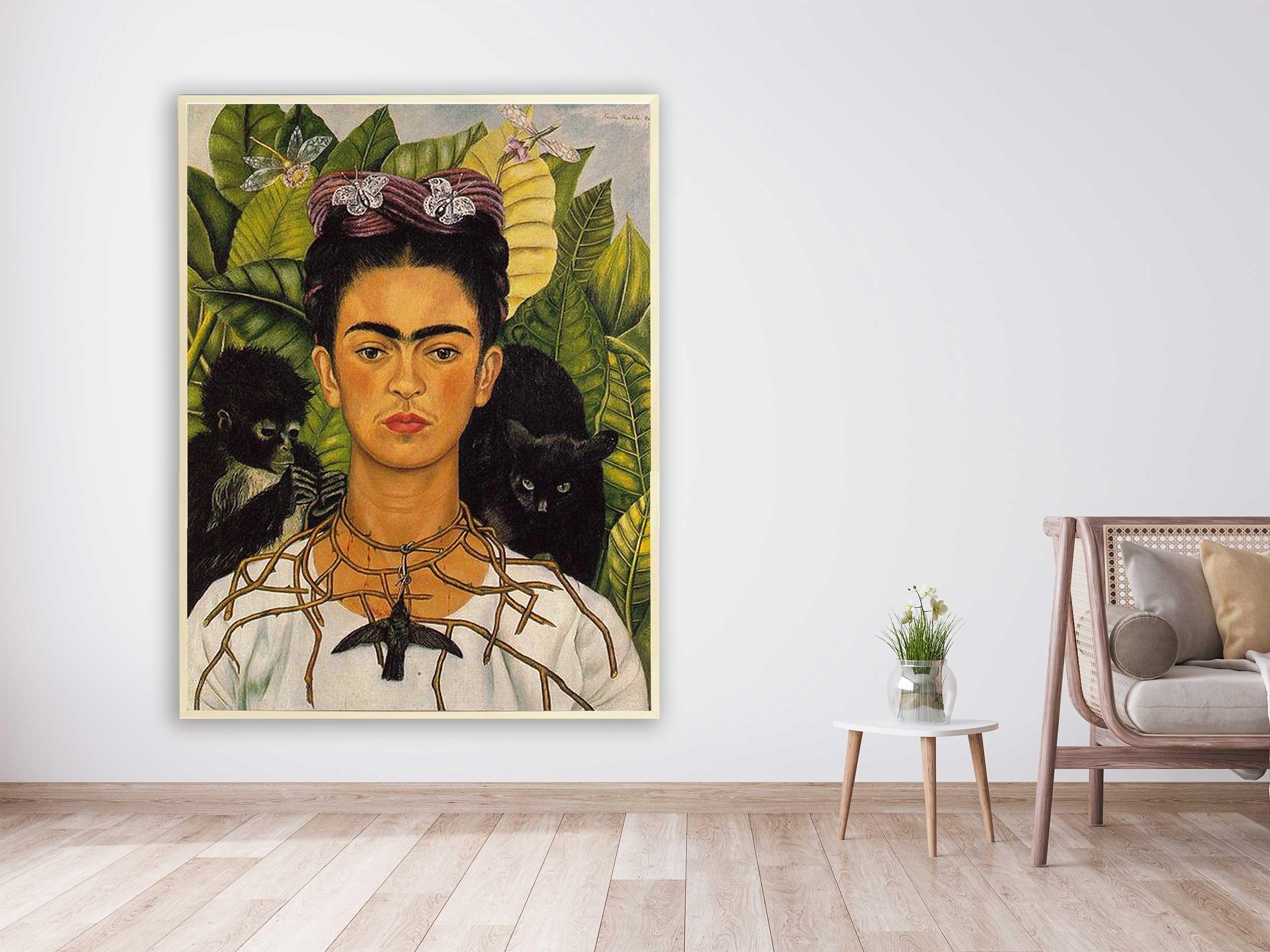 Frida Kahlo -  Self-portrait with Thorn Necklace and Hummingbird, 1940, Bilderrahmen ahorn