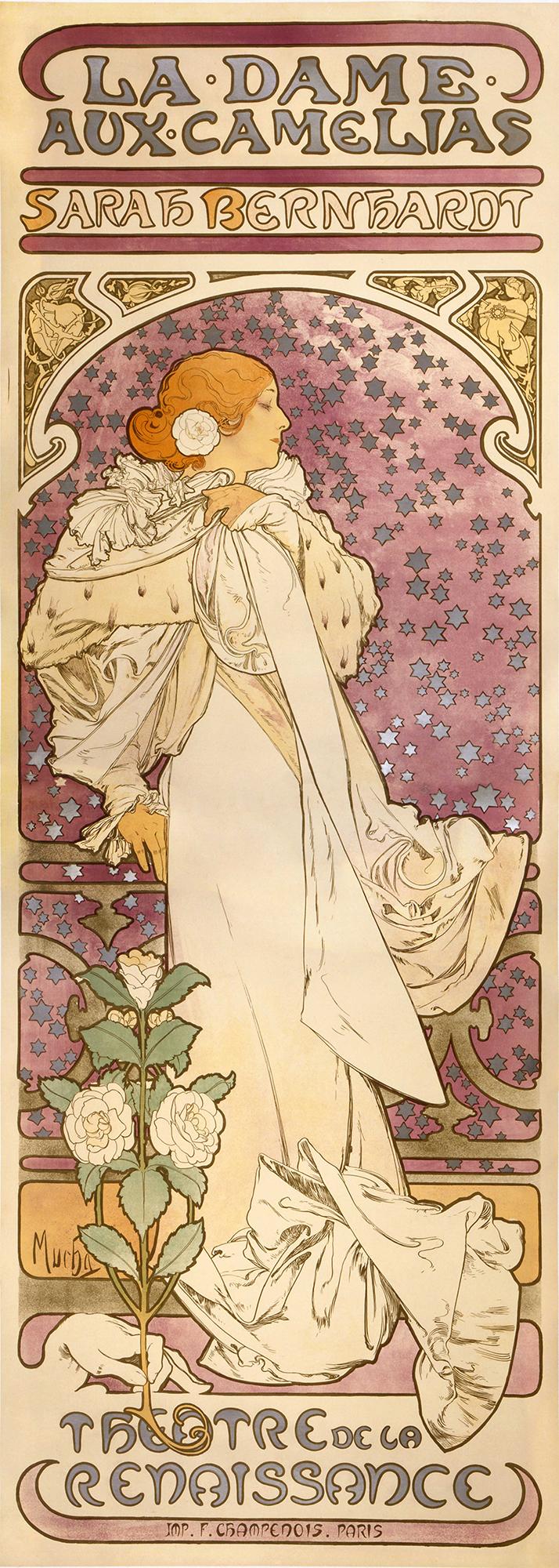 Alfons Mucha - La Dame aux Camelias, 1896, Bilderrahmen Eiche