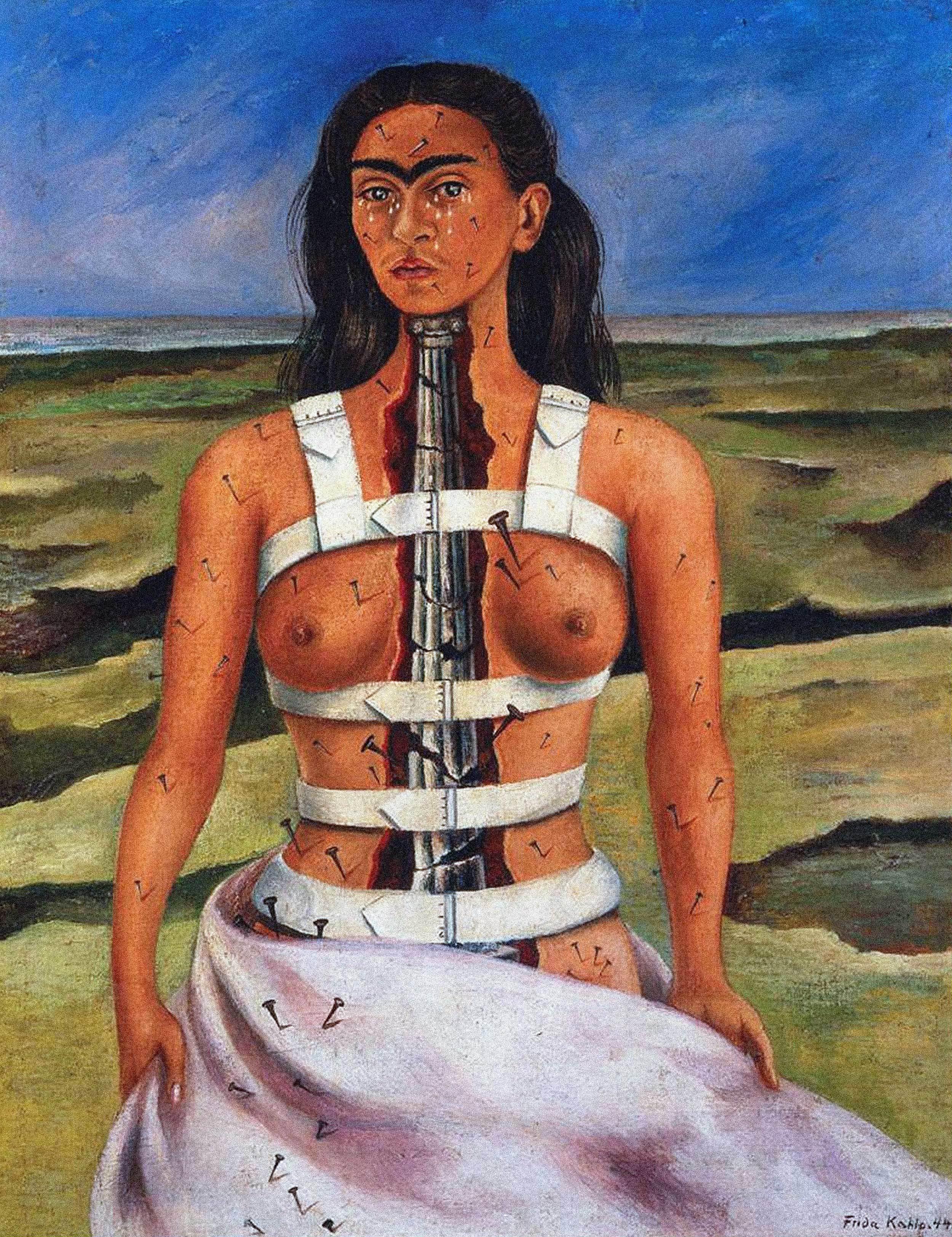 Frida Kahlo - Broken Column, 1944, Bilderrahmen grau