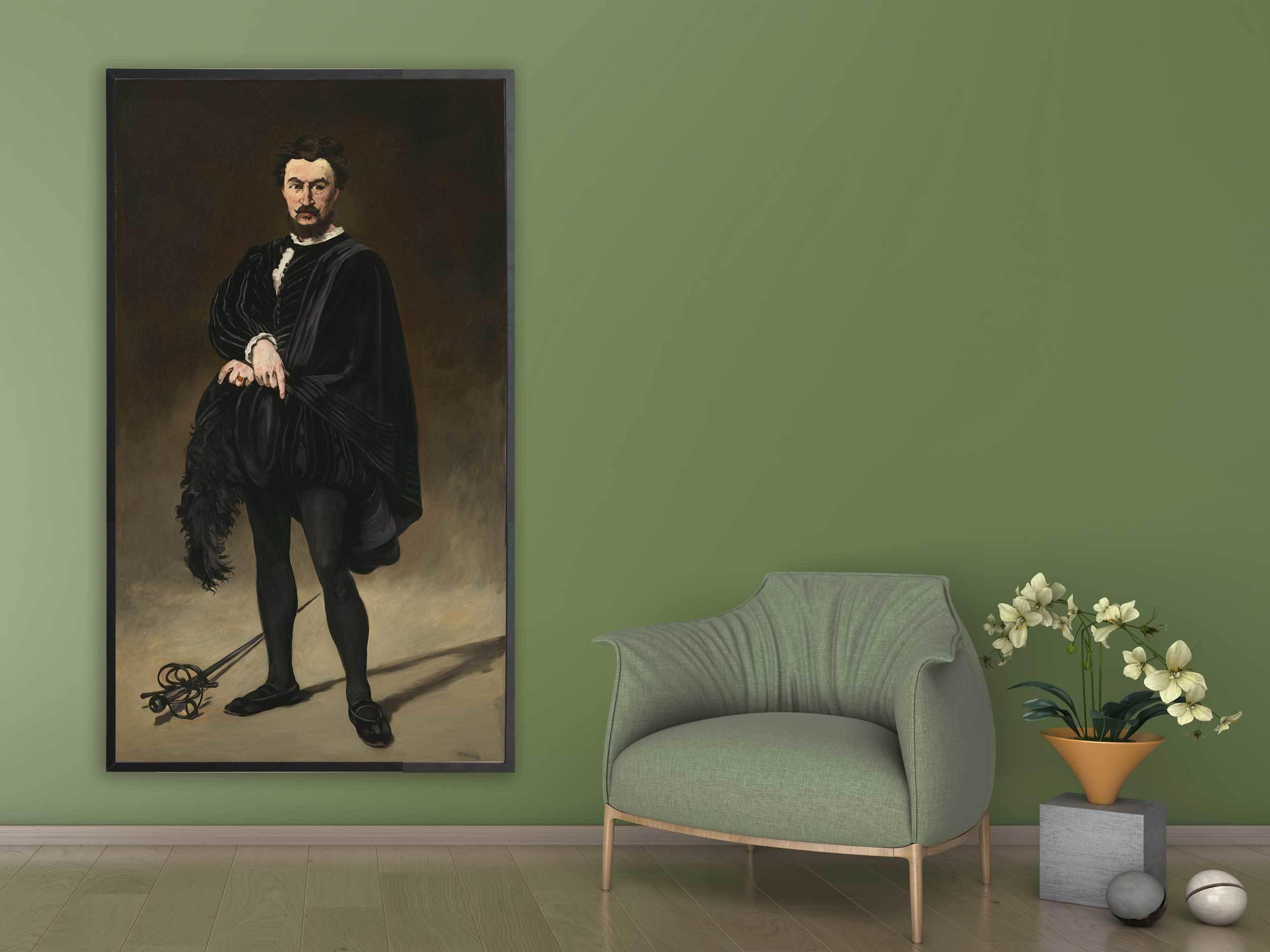 Edouard Manet - Philibert Rouviere as Hamlet, 1866, Bilderrahmen schwarz
