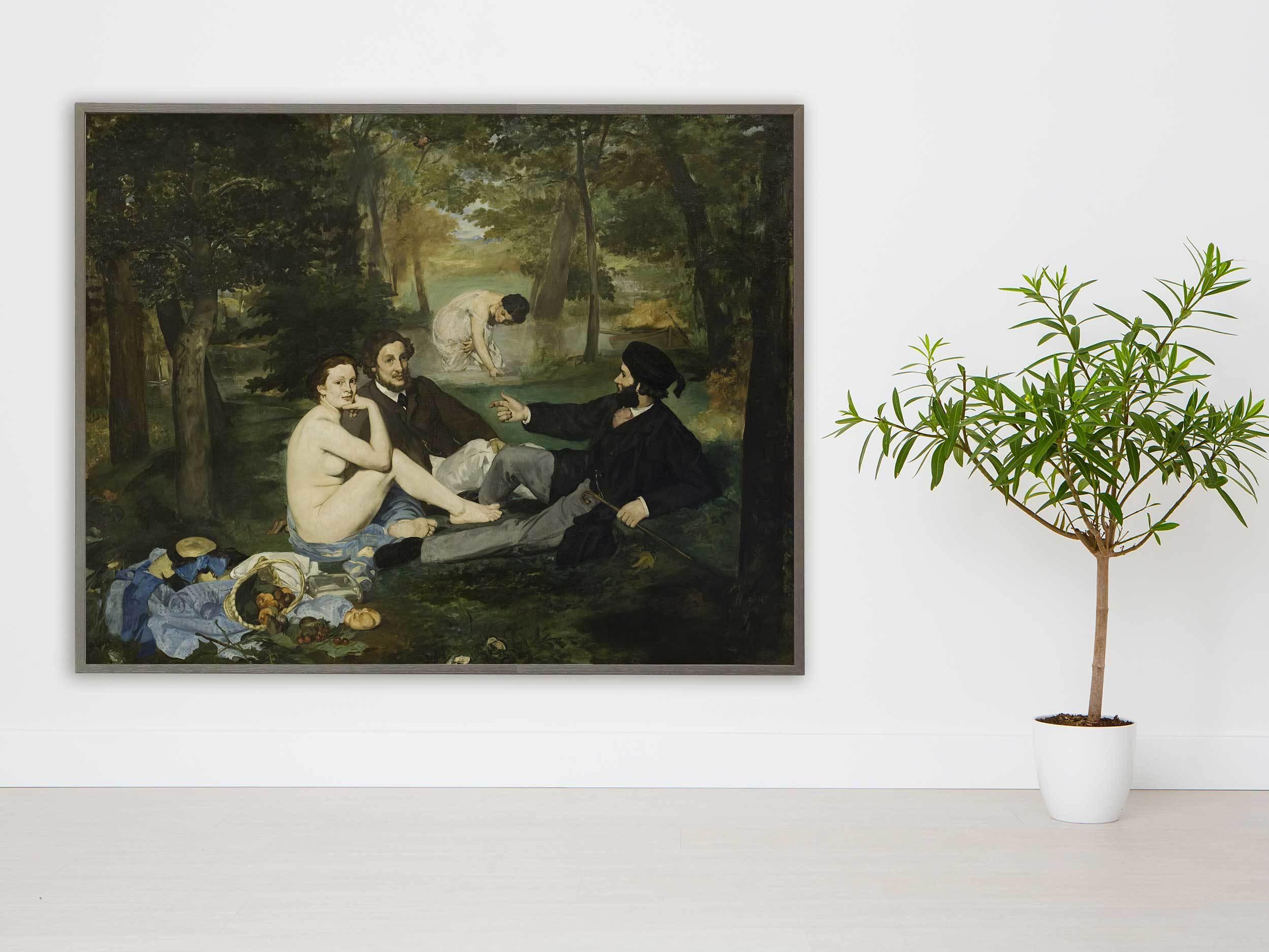 Edouard Manet - Luncheon on the Grass, 1863, Bilderrahmen grau