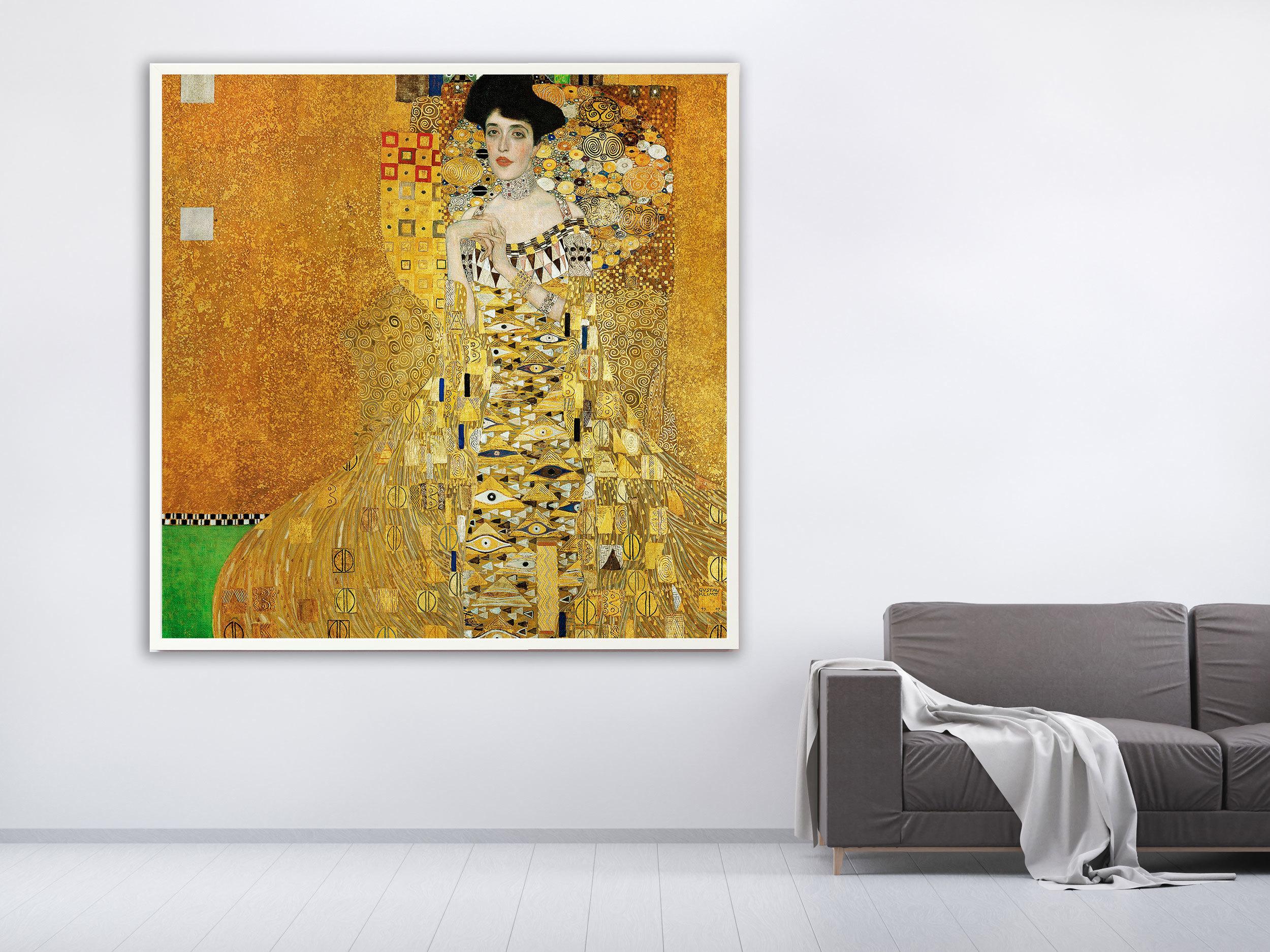 Gustav Klimt - Adele Bloch-Bauer's Portrait, 1907, Bilderrahmen weiß