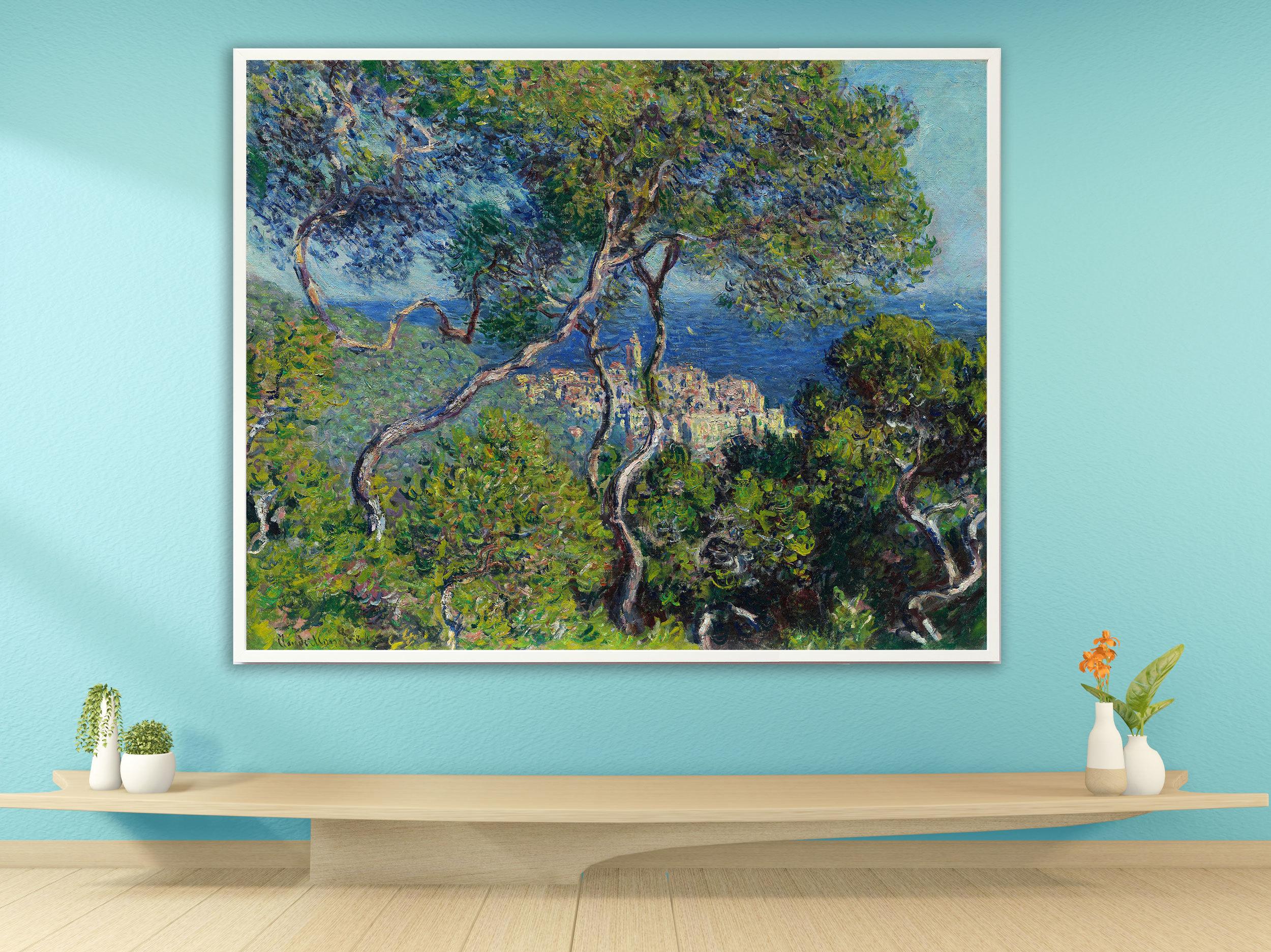 Claude Monet - Bordighera, 1884, Bilderrahmen weiß