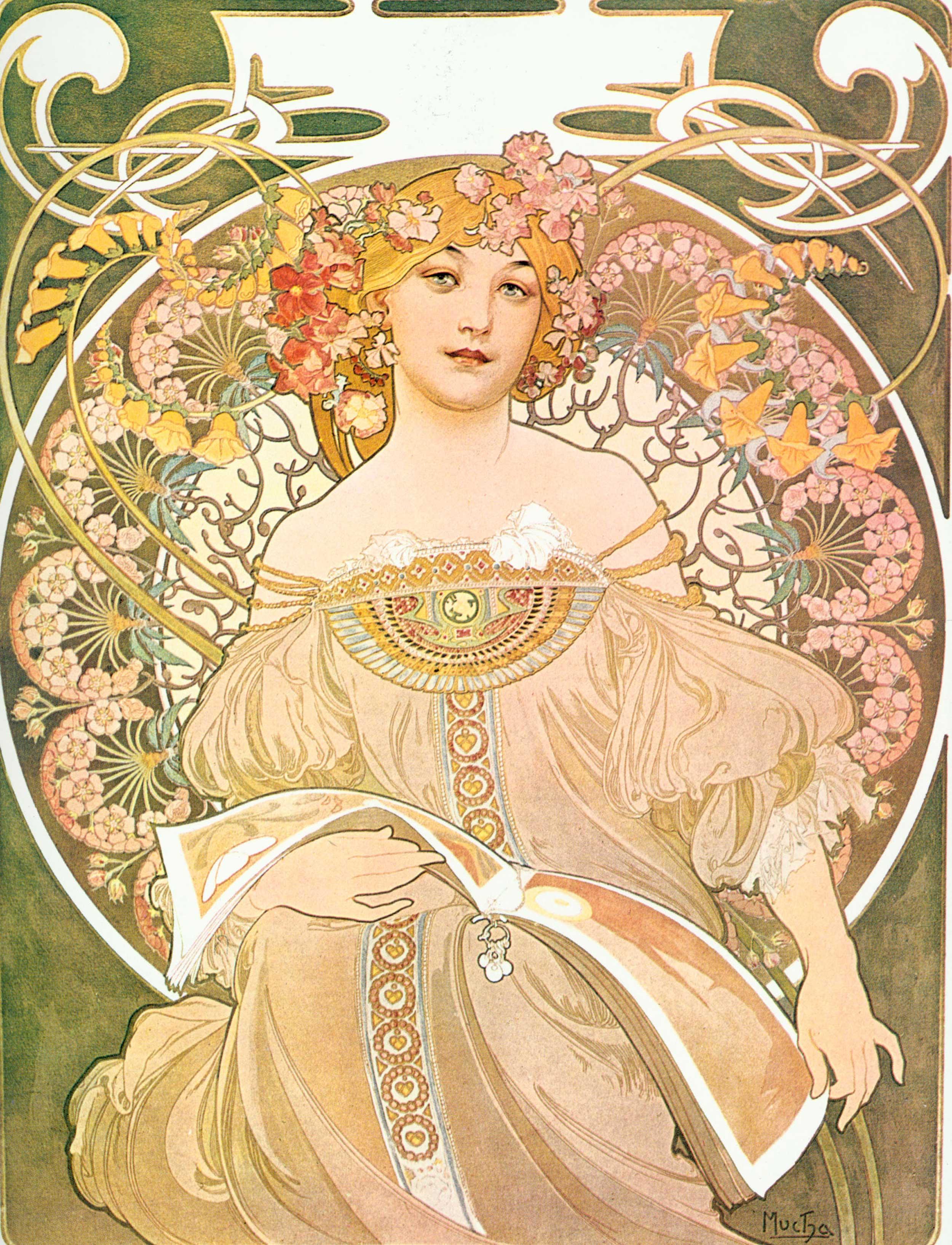 Alfons Mucha - Reverie or Daydream, 1898, Schattenfugenrahmen Natur