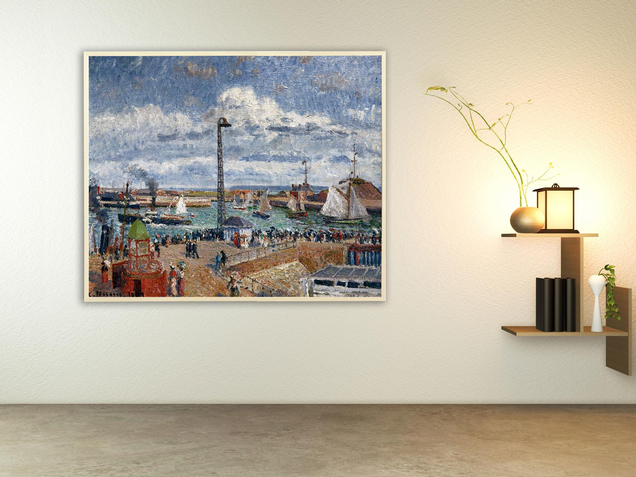 Camille Pissarro - L´Anse des Pilotes et le brise lames est, Bilderrahmen Ahorn