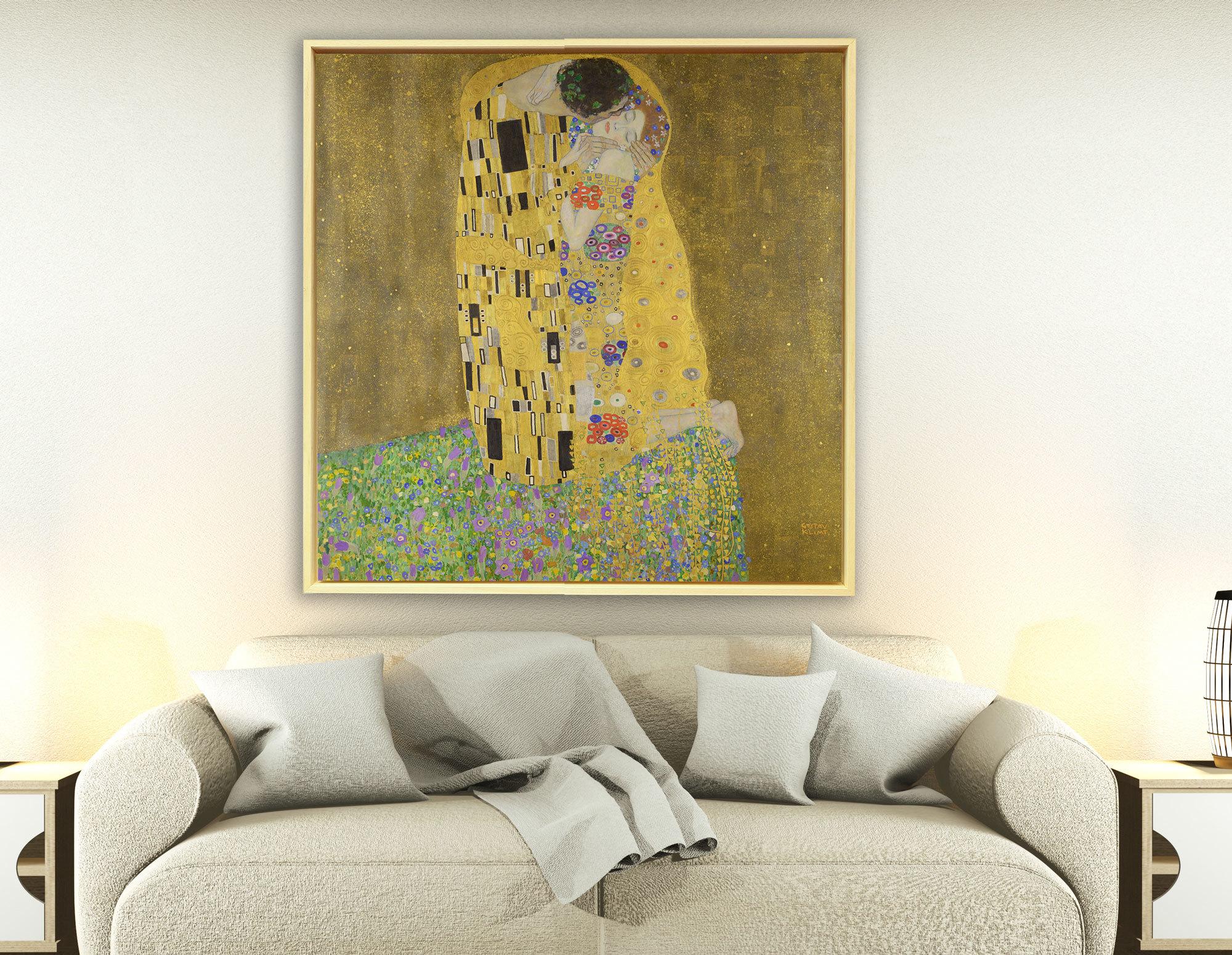 Gustav Klimt - Der Kuss, 1907–1908, Rahmen Schattenfuge Natur