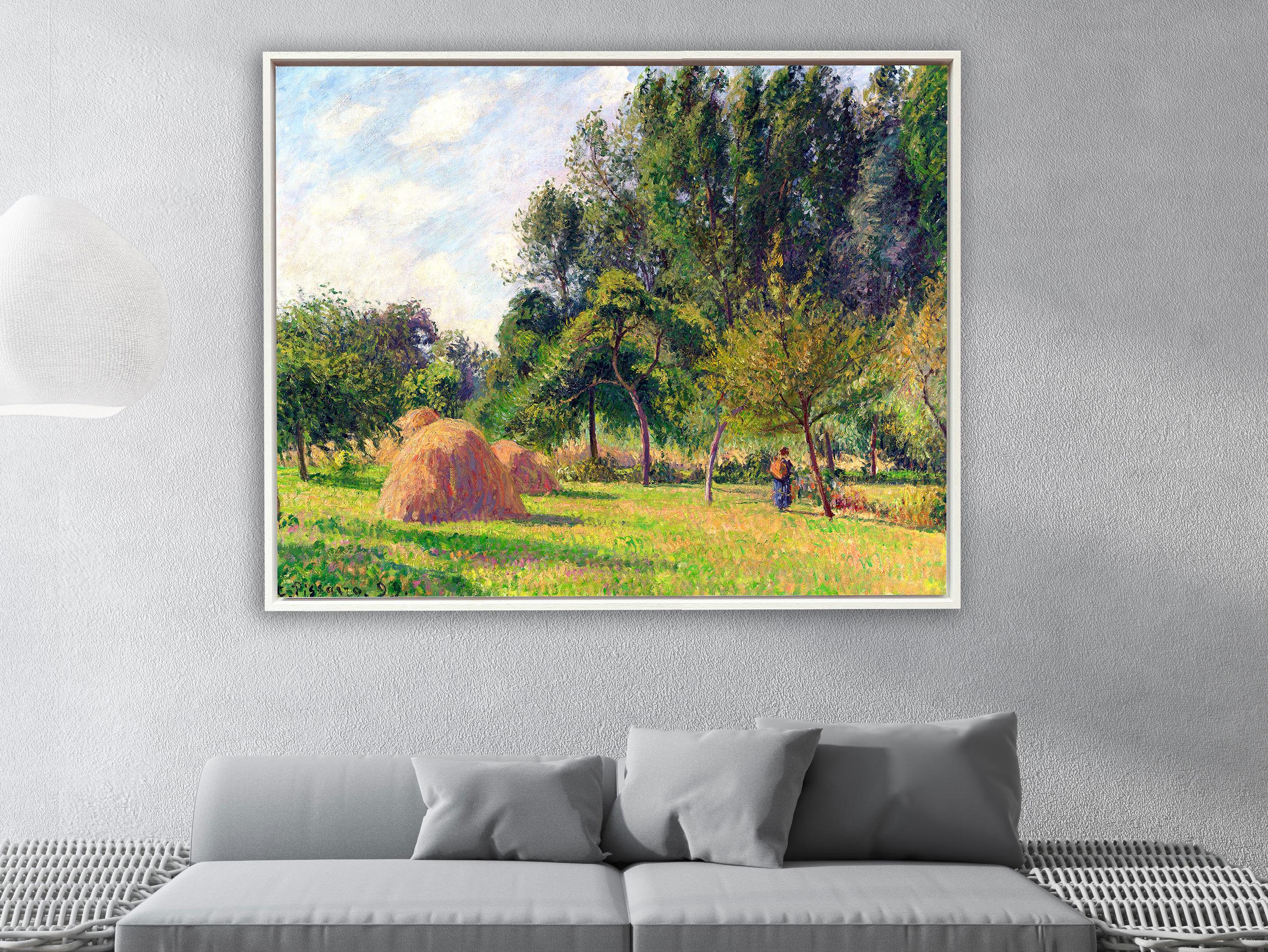 Camille Pissarro - Heuhaufen am Morgen Eragny in Frankreich, Schattenfugenrahmen weiß
