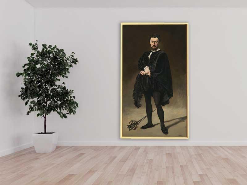 Edouard Manet - Philibert Rouviere as Hamlet, 1866, Schattenfugenrahmen weiß