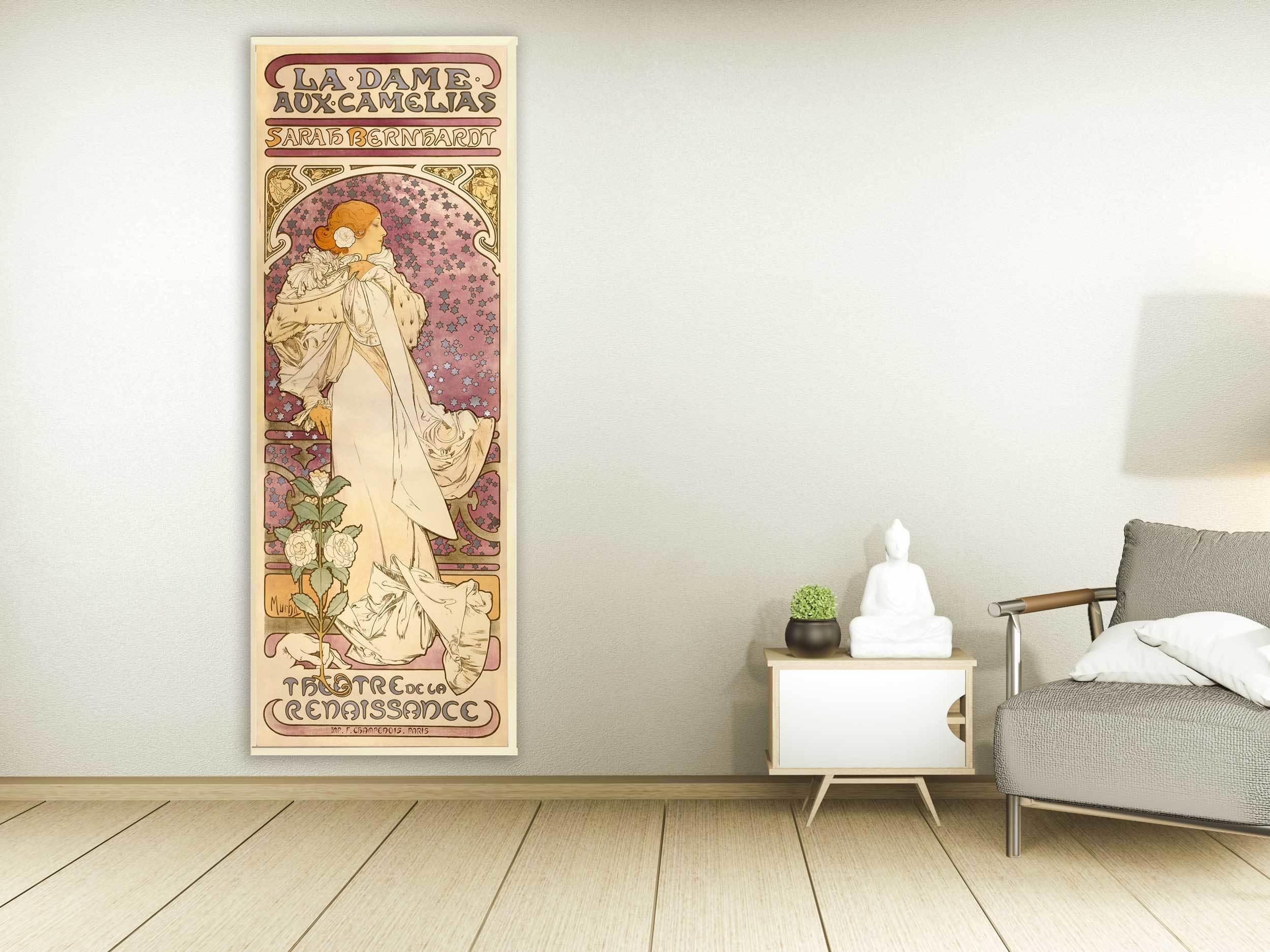 Alfons Mucha - La Dame aux Camelias, 1896, Bilderrahmen Ahorn
