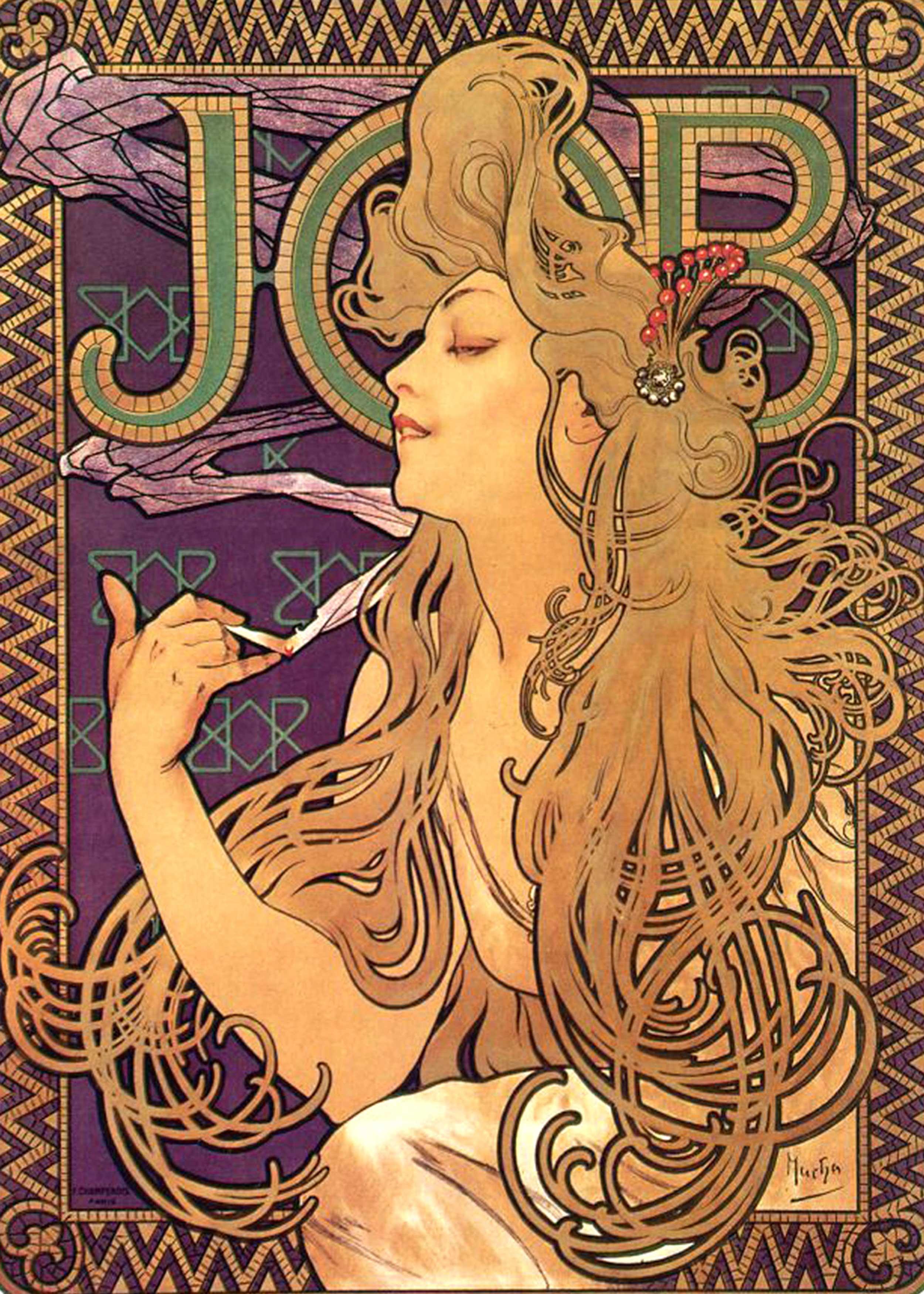 Alfons Mucha - Job Cigarettes, 1896, Bilderrahmen Ahorn