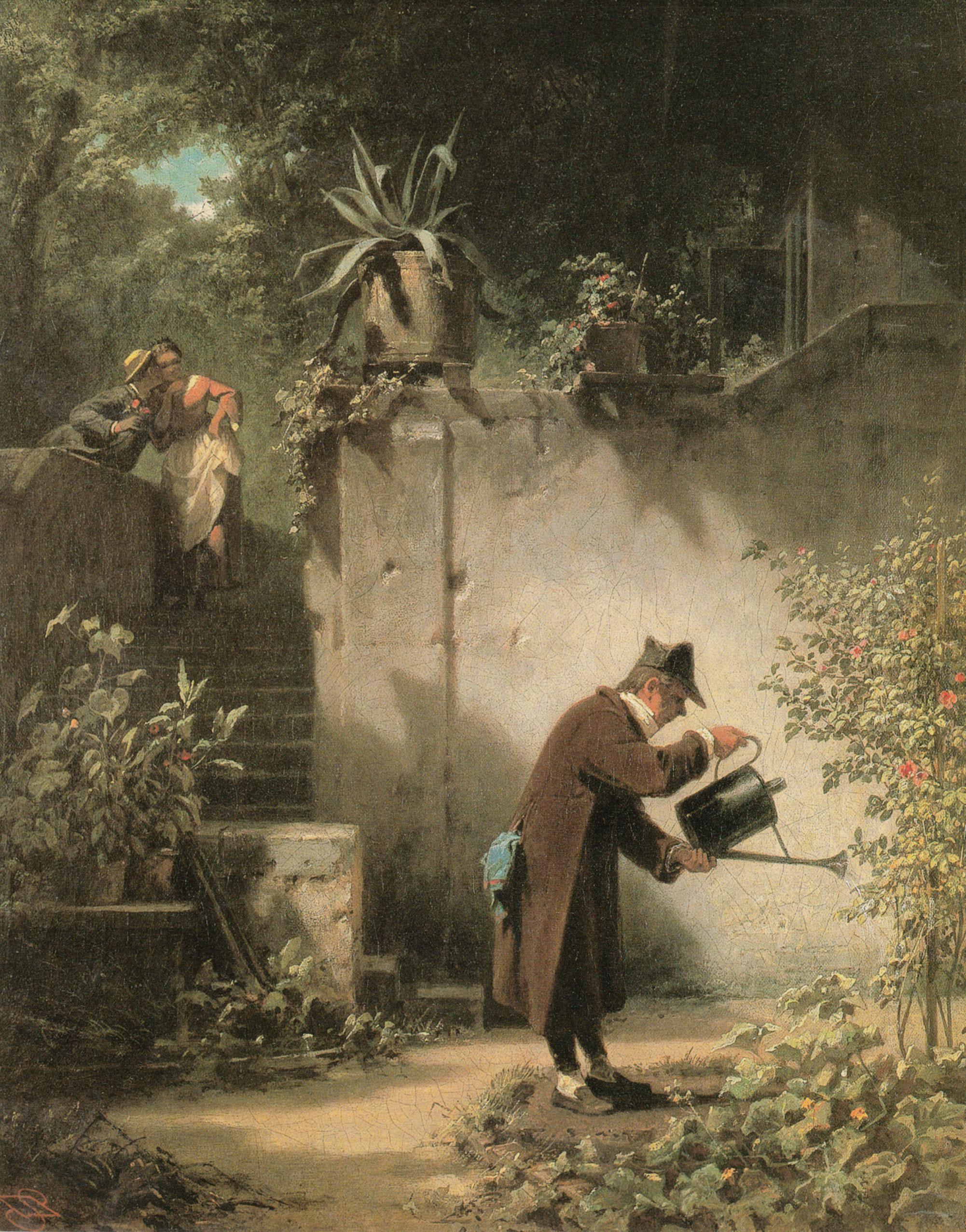 Carl Spitzweg - Der Blumenfreund, um 1856, Bilderrahmen weiß