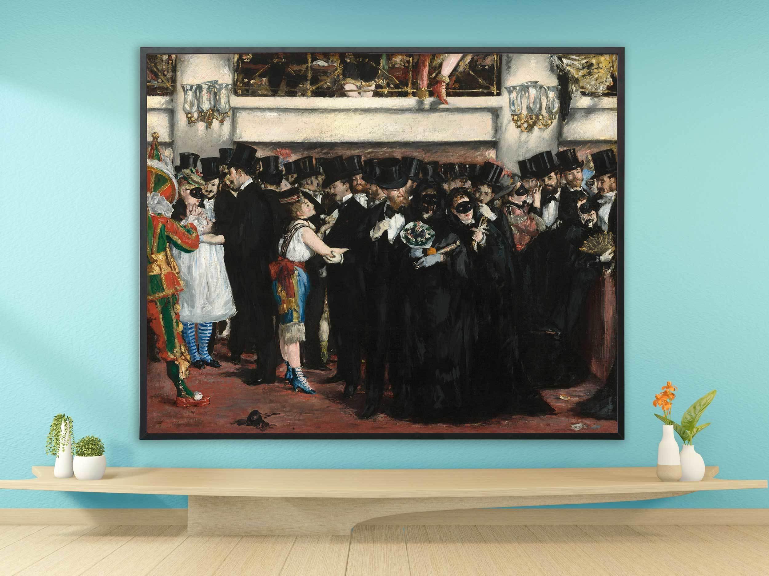 Edouard Manet - Maskenball in der Oper, 1873, Bilderrahmen schwarz