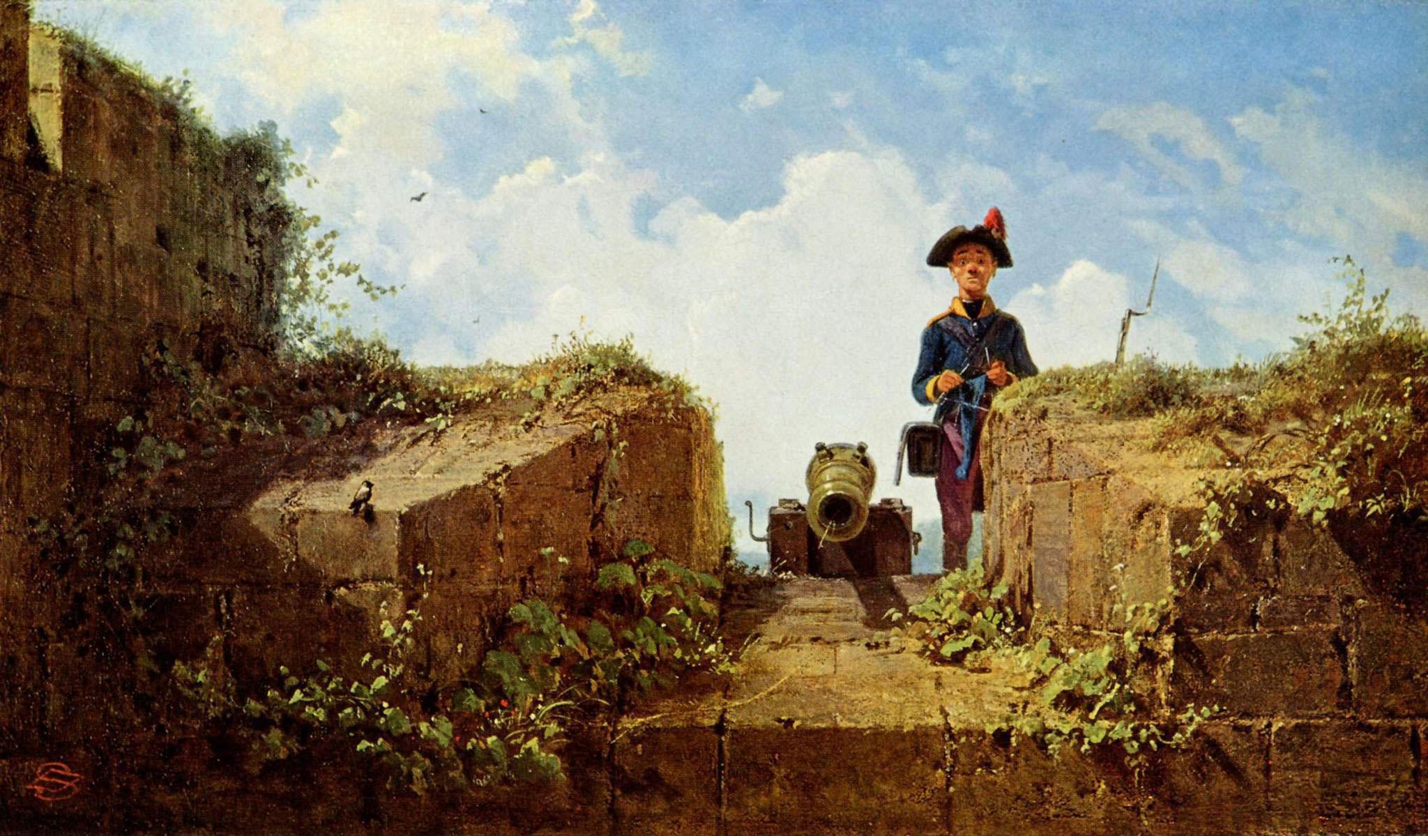 Carl Spitzweg - Der strickende Vorposten, 1860, Schattenfugenrahmen braun