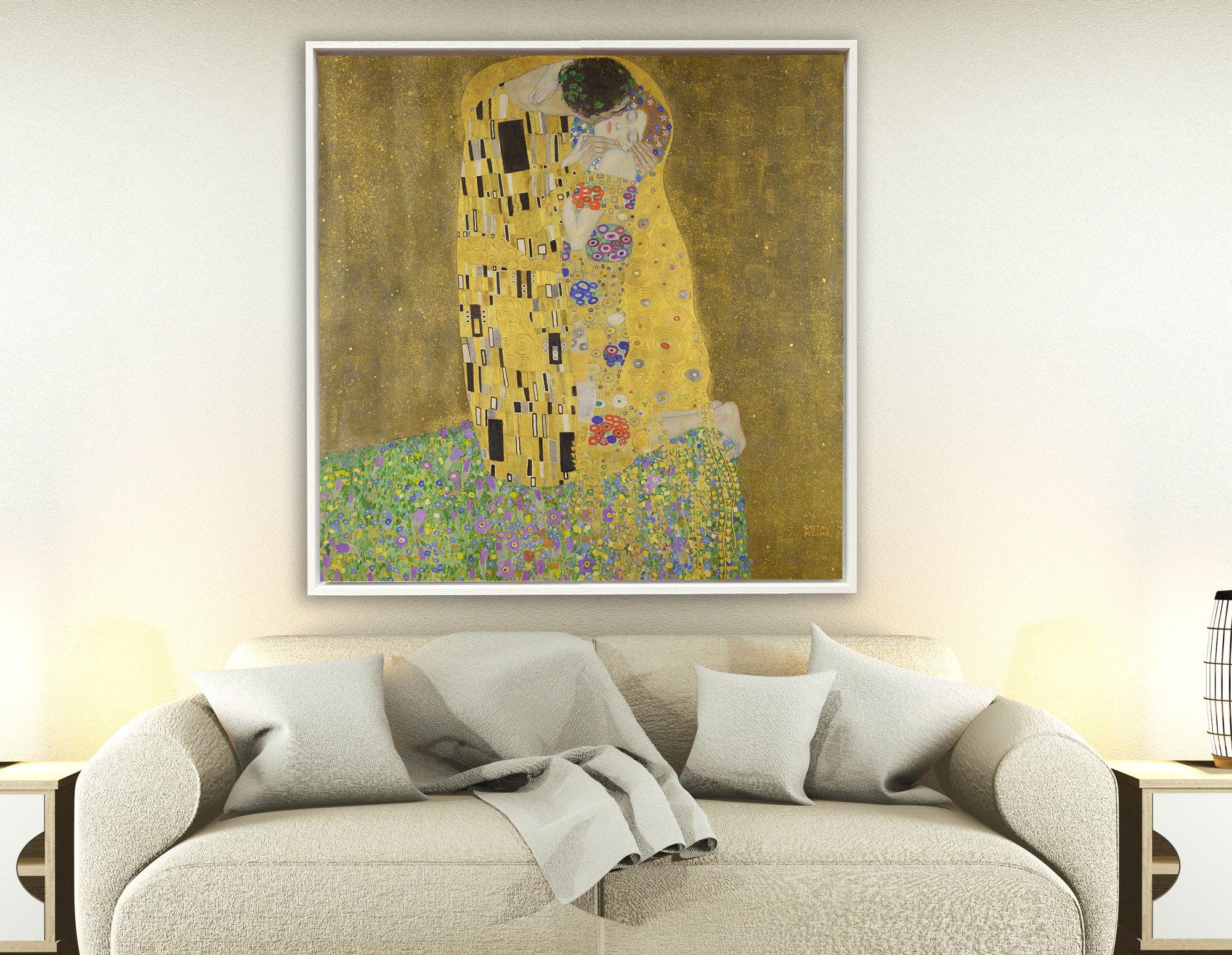 Gustav Klimt - Der Kuss, 1907–1908, Rahmen Schattenfuge weiß