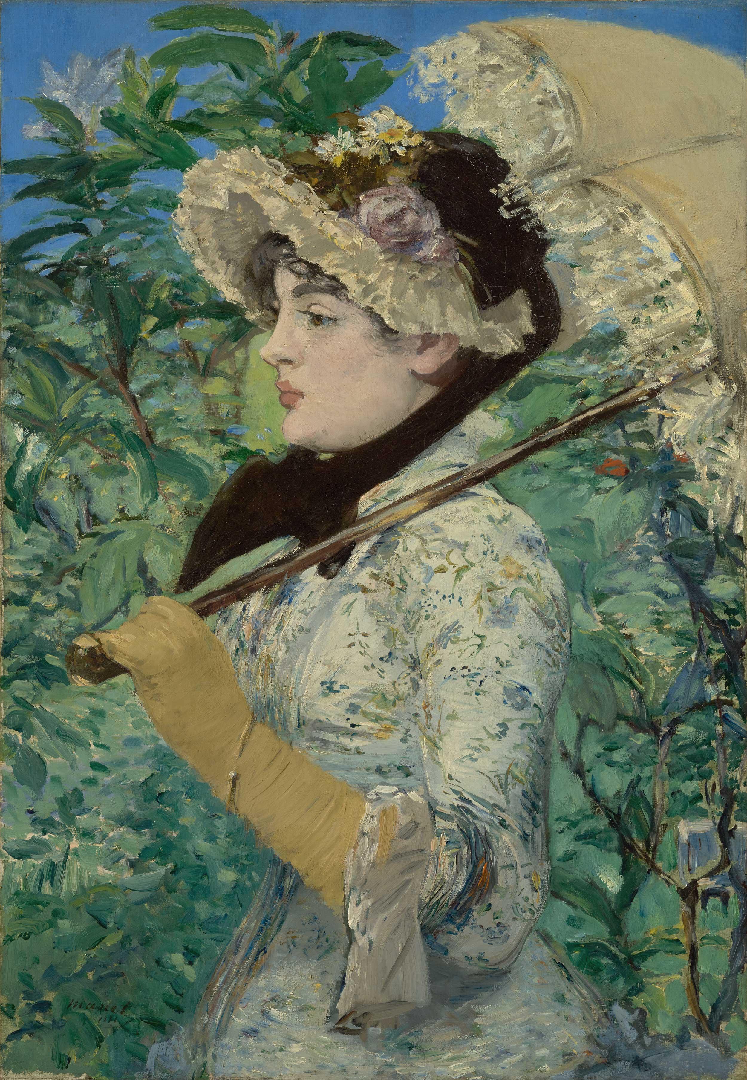 Edouard Manet - Jeanne (Spring), 1881, Schattenfugenrahmen weiß