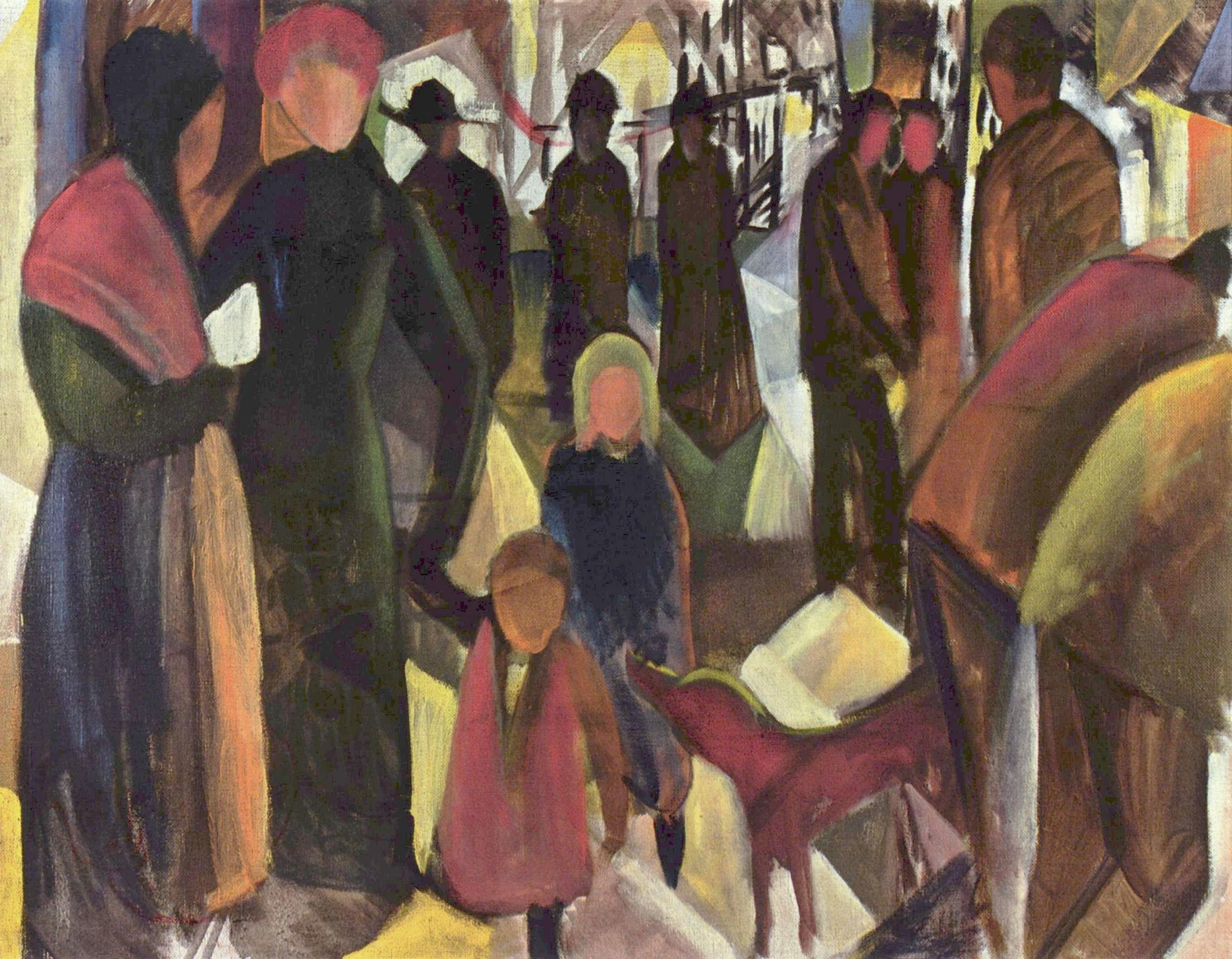 August Macke - Abschied, 1914, Bilderrahmen schwarz