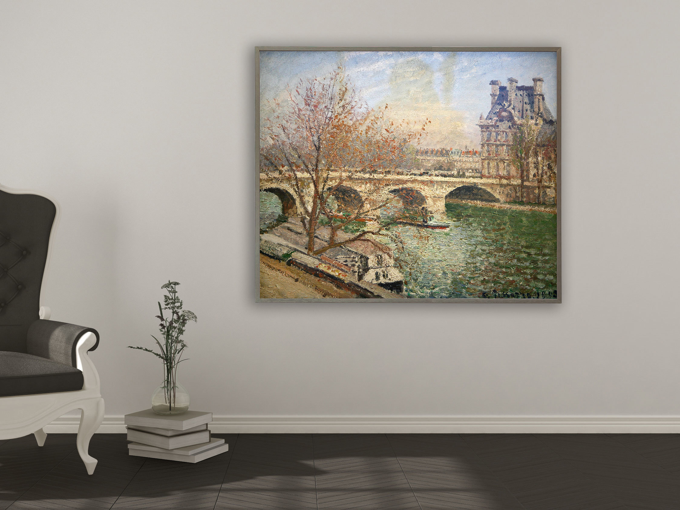 Camille Pissarro - Die königliche Brücke und der Flora Pavillion, Bilderrahmen grau