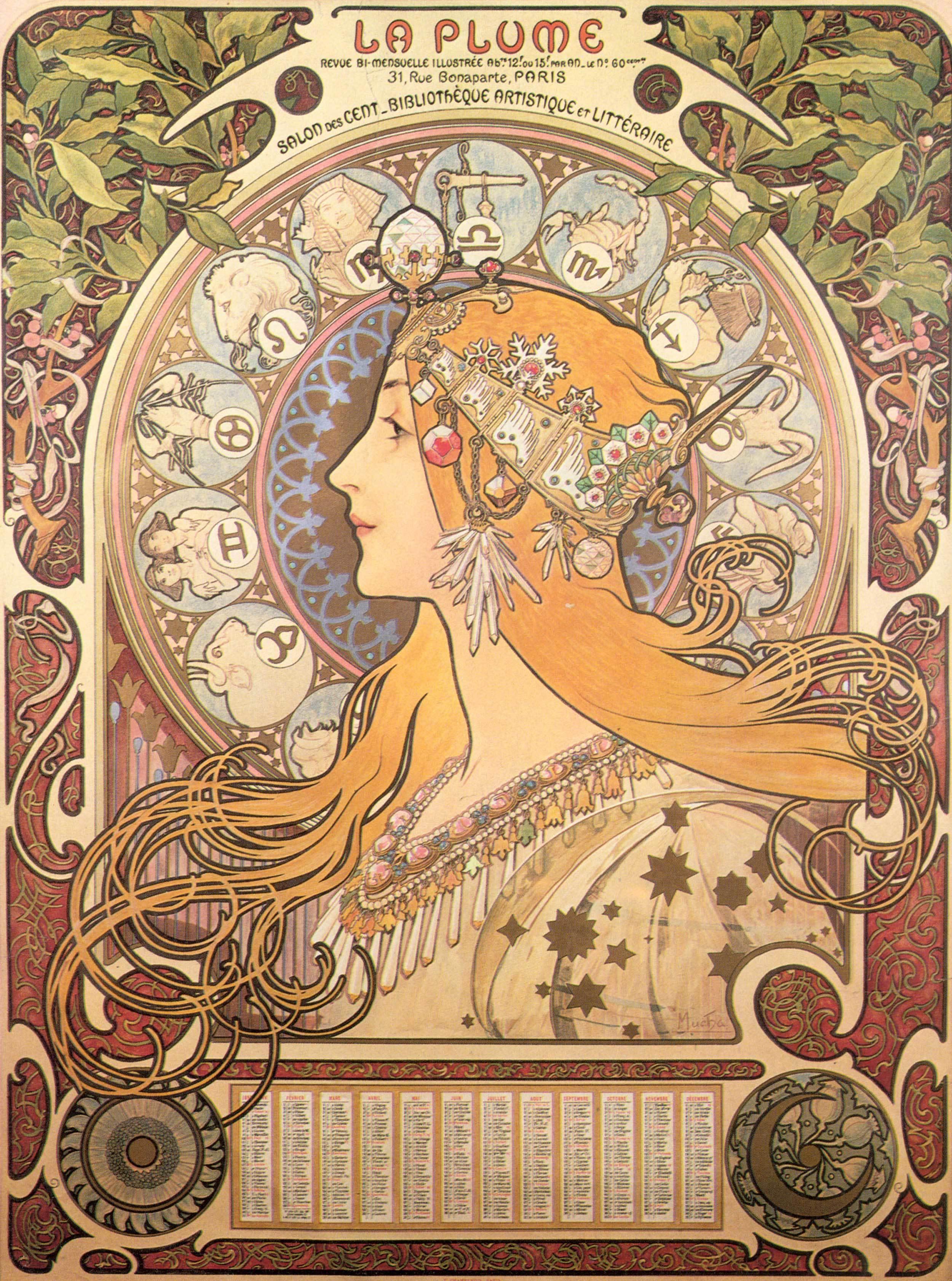 Alfons Mucha - Zodiac Sternkreiszeichen, 1896, Bilderrahmen schwarz