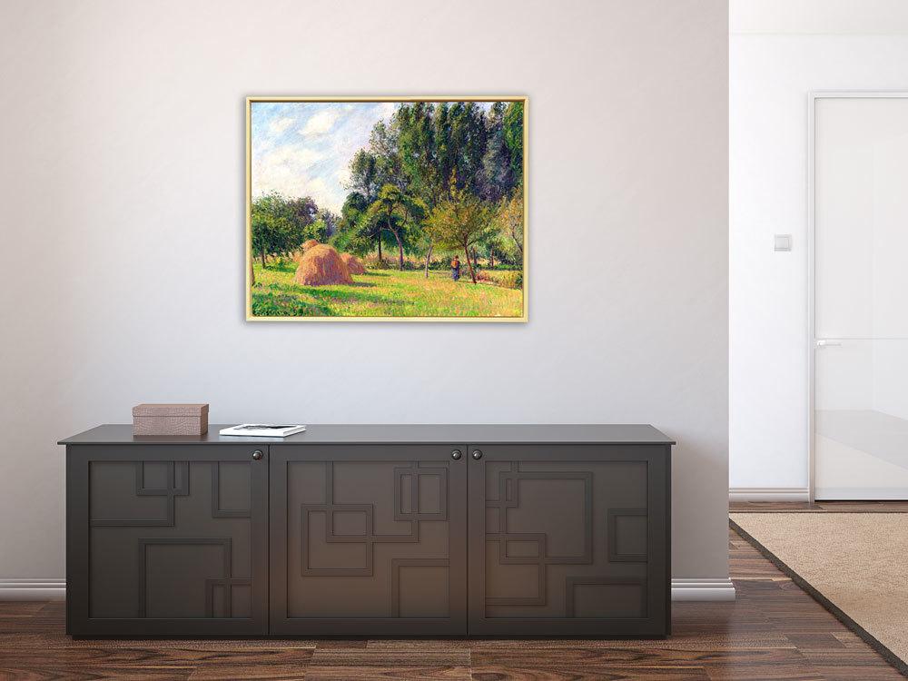 Camille Pissarro - Heuhaufen am Morgen Eragny in Frankreich, Schattenfugenrahmen Natur