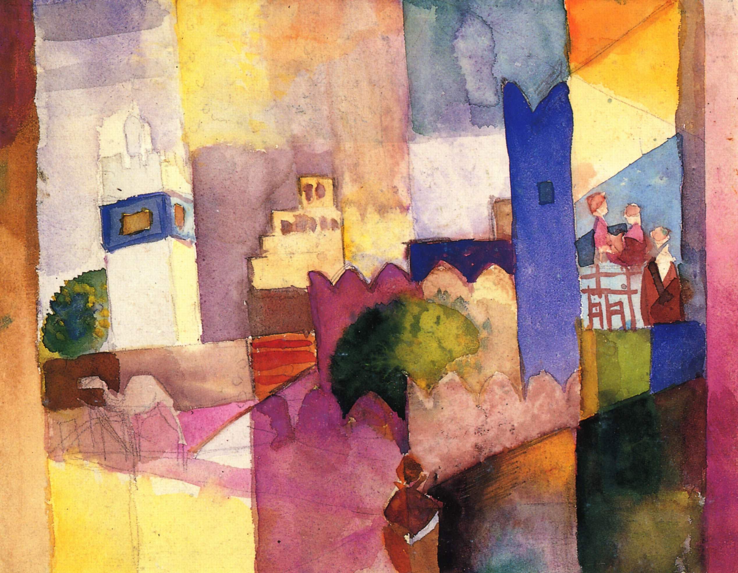 August Macke - Kairouan  von 1914, Bilderrahmen Eiche