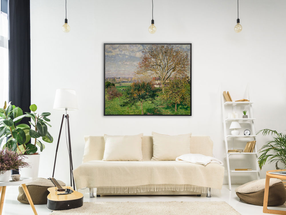Camille Pissarro - Landschaft Eragny in Frankreich , inkl. Bilderrahmen schwarz