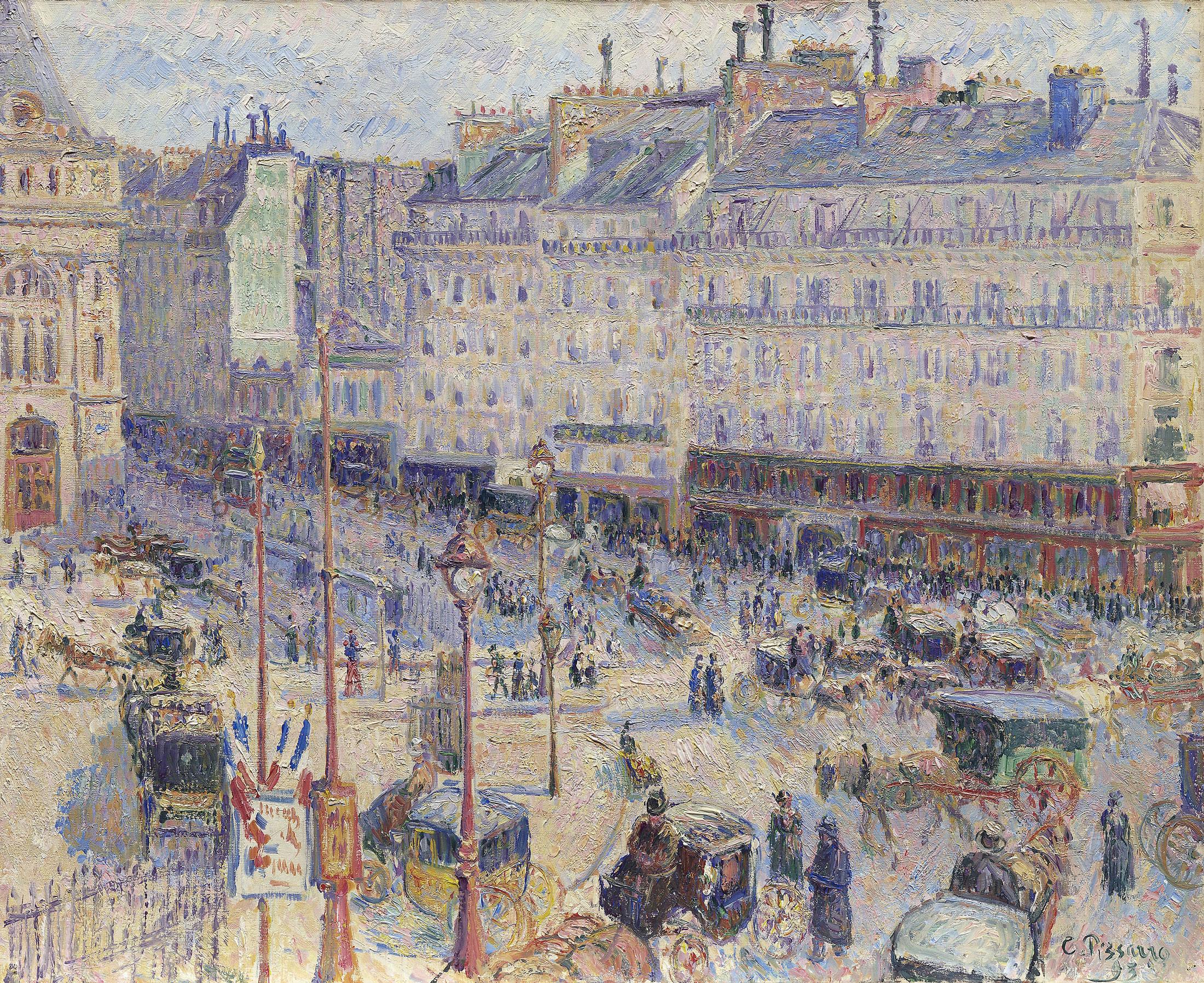 Camille Pissarro - Place du Havre, 1893, Bilderrahmen Ahorn