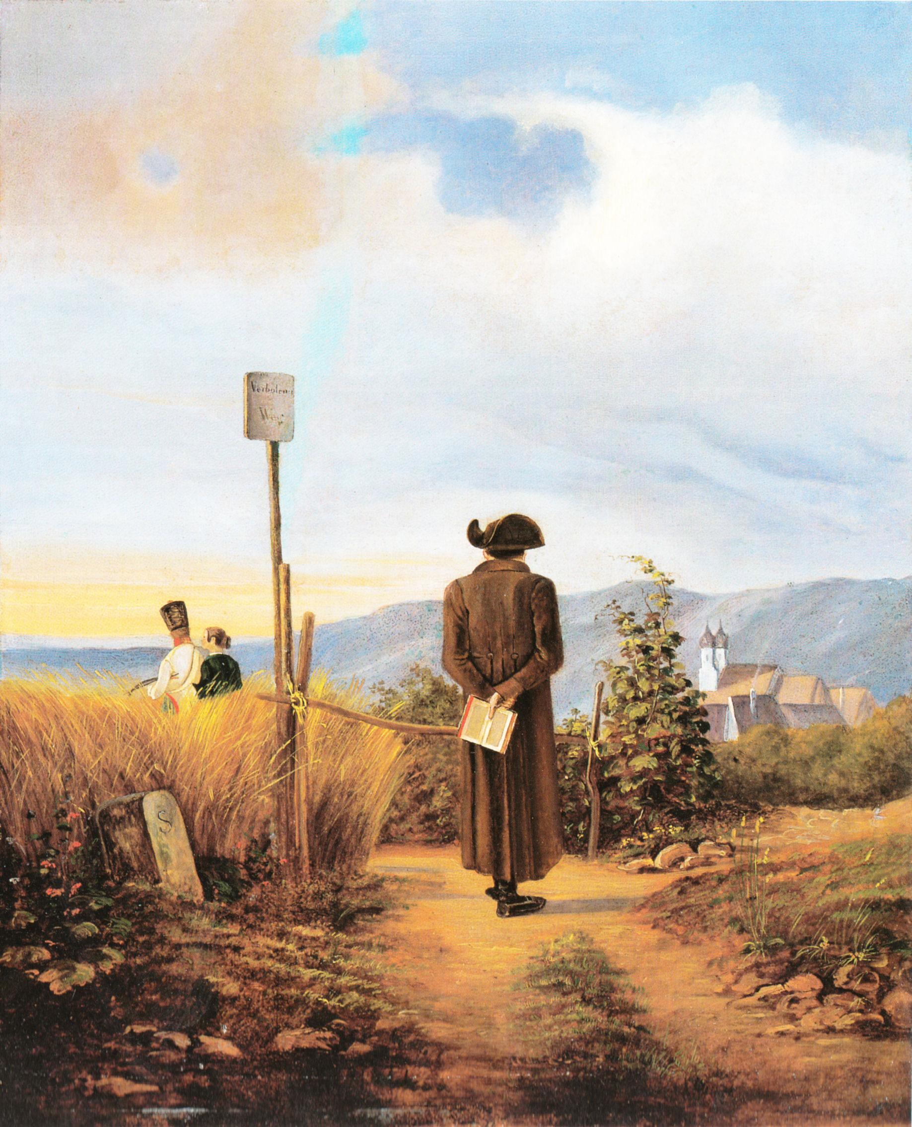 Carl Spitzweg - Der verbotene Weg, um 1840, Schattenfugenrahmen schwarz