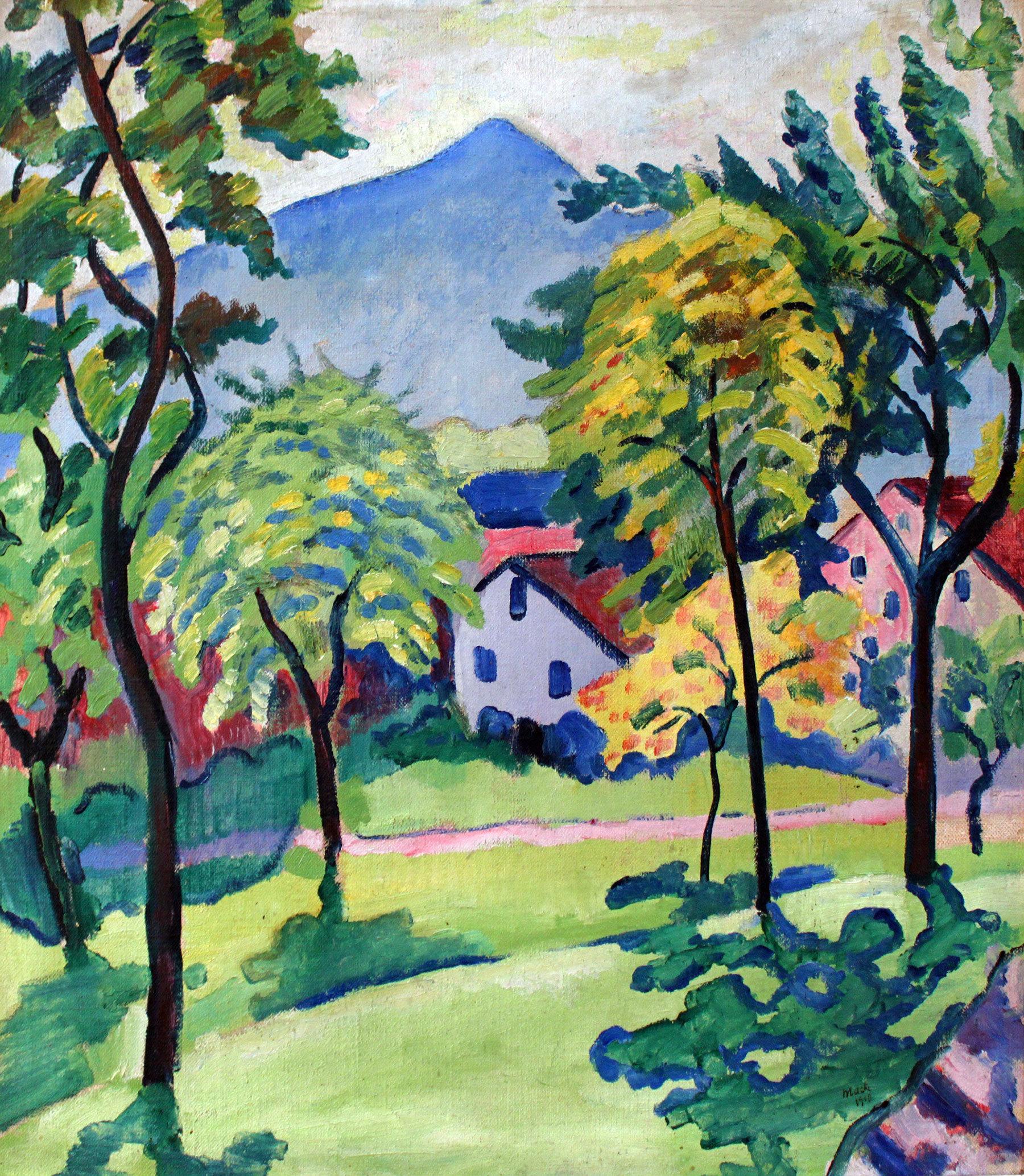 August Macke - Landschaft am Tegernsee 1910, Rahmen Schattenfuge schwarz