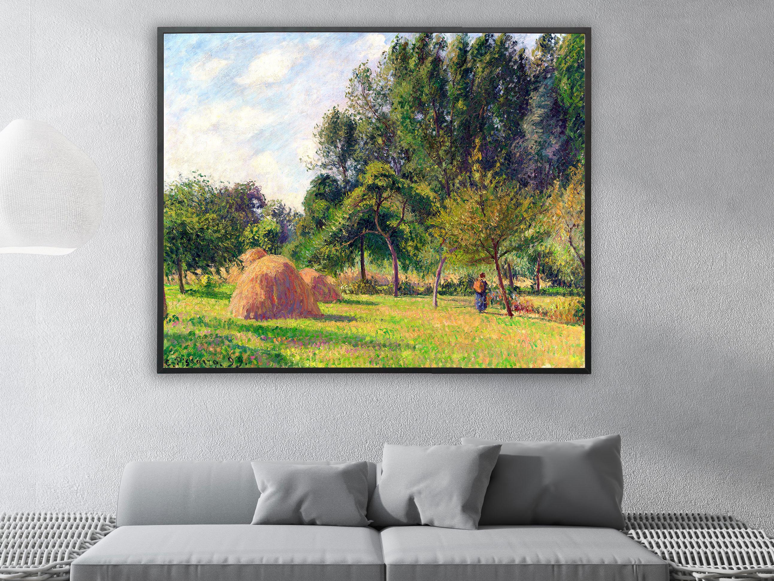 Camille Pissarro - Heuhaufen am Morgen Eragny in Frankreich, Bilderrahmen schwarz