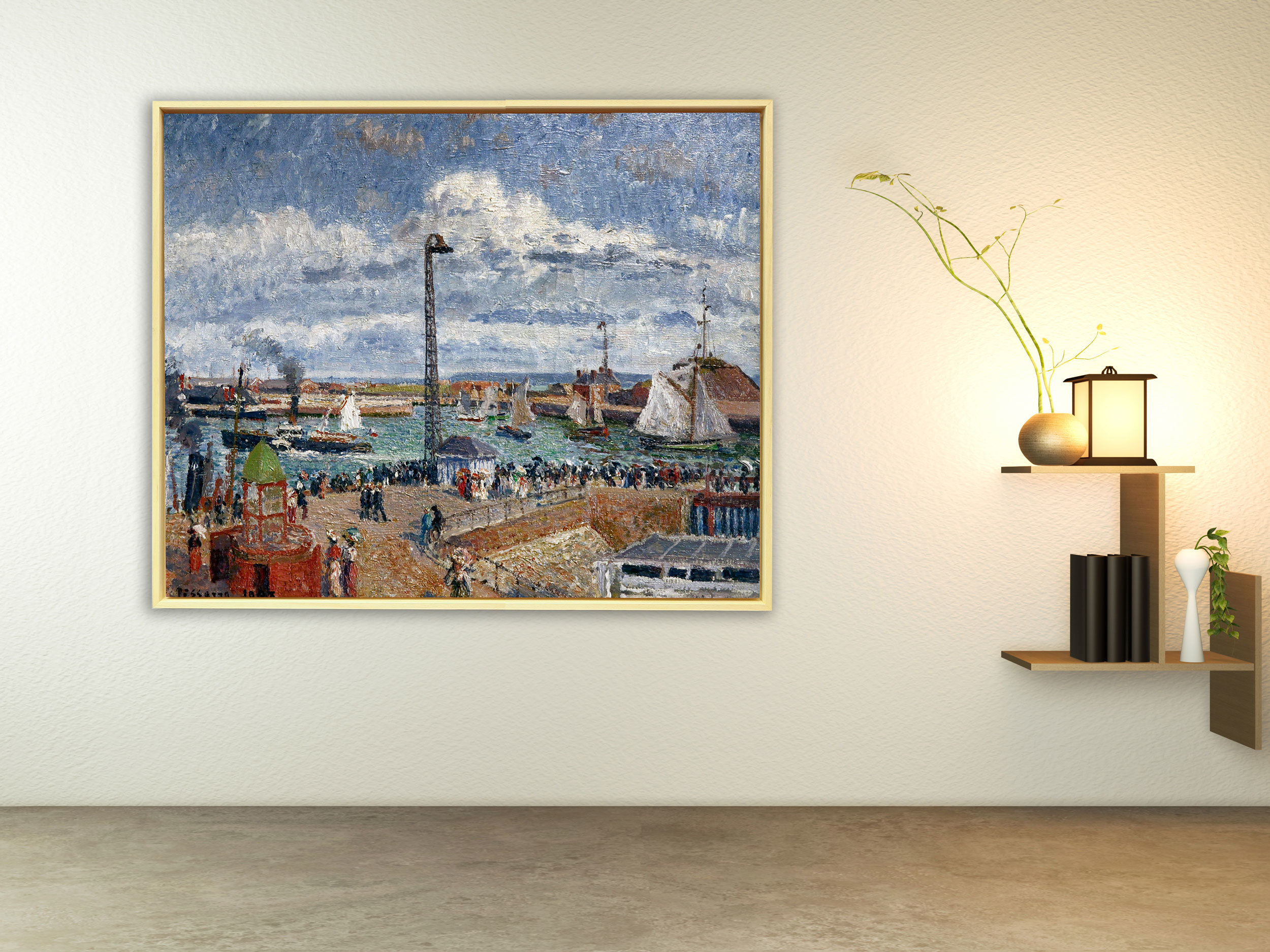Camille Pissarro - L´Anse des Pilotes et le brise lames est, Rahmen Schattenfuge Natur
