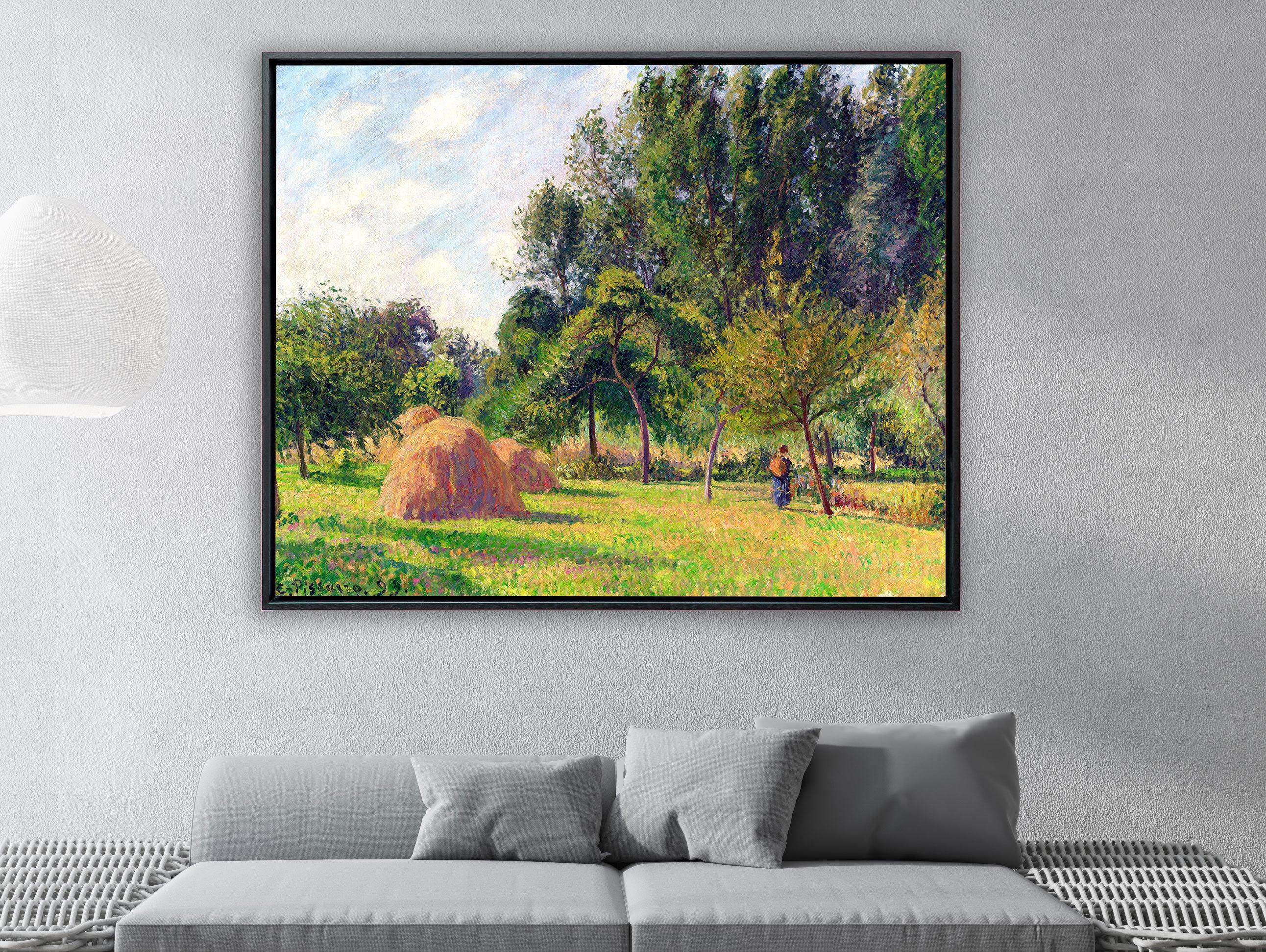 Camille Pissarro - Heuhaufen am Morgen Eragny in Frankreich, Schattenfugenrahmen schwarz
