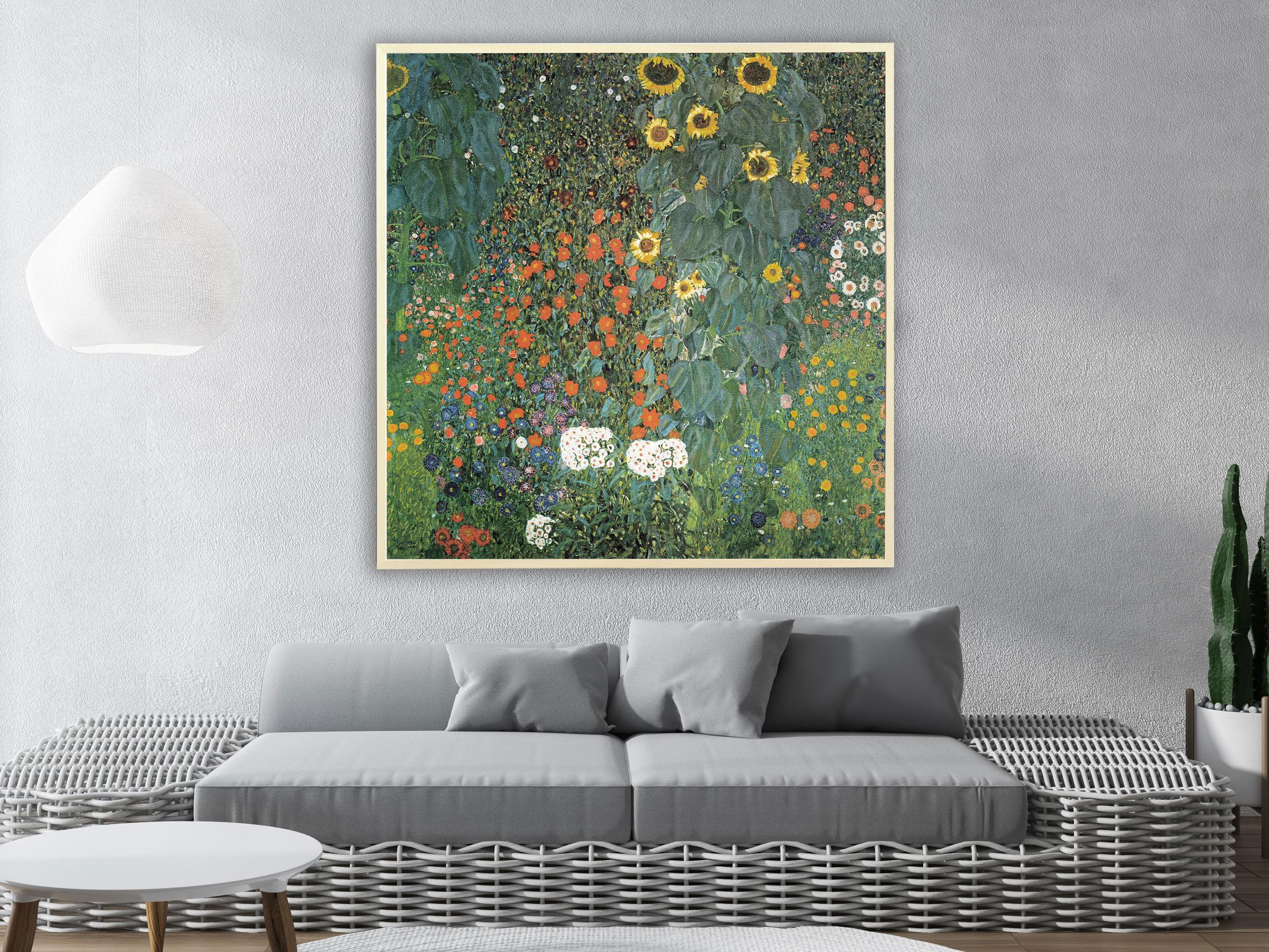 Gustav Klimt - Bauerngarten mit Sonnenblumen, 1907, Bilderrahmen Ahorn
