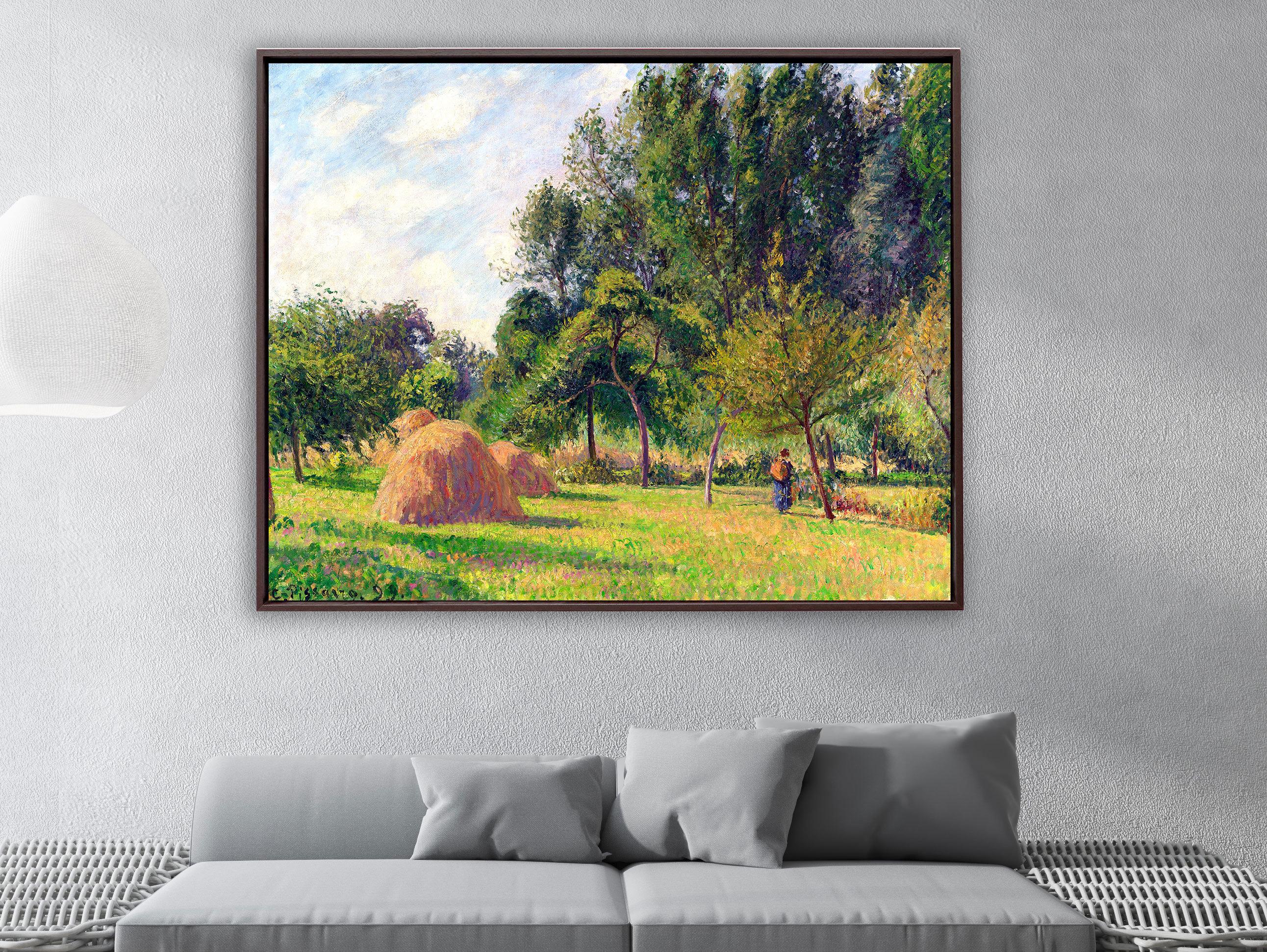Camille Pissarro - Heuhaufen am Morgen Eragny in Frankreich, Schattenfugenrahmen braun