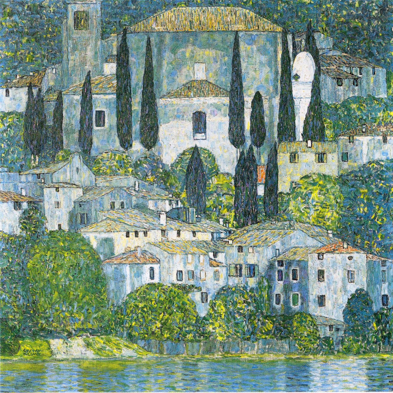 Gustav Klimt - Kirche in Cassone (1913), Rahmen Schattenfuge schwarz