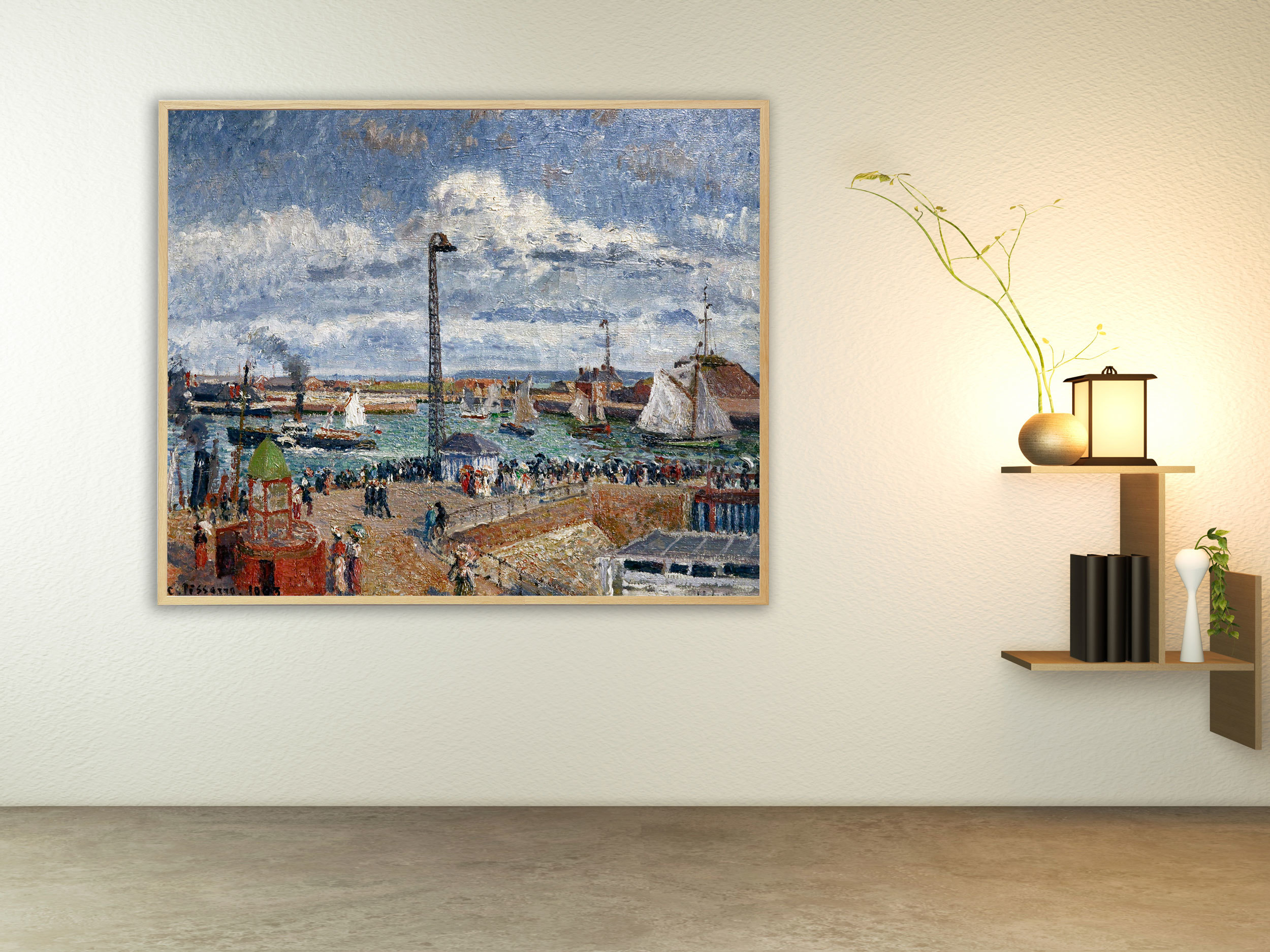 Camille Pissarro - L´Anse des Pilotes et le brise lames est, Bilderrahmen Eiche