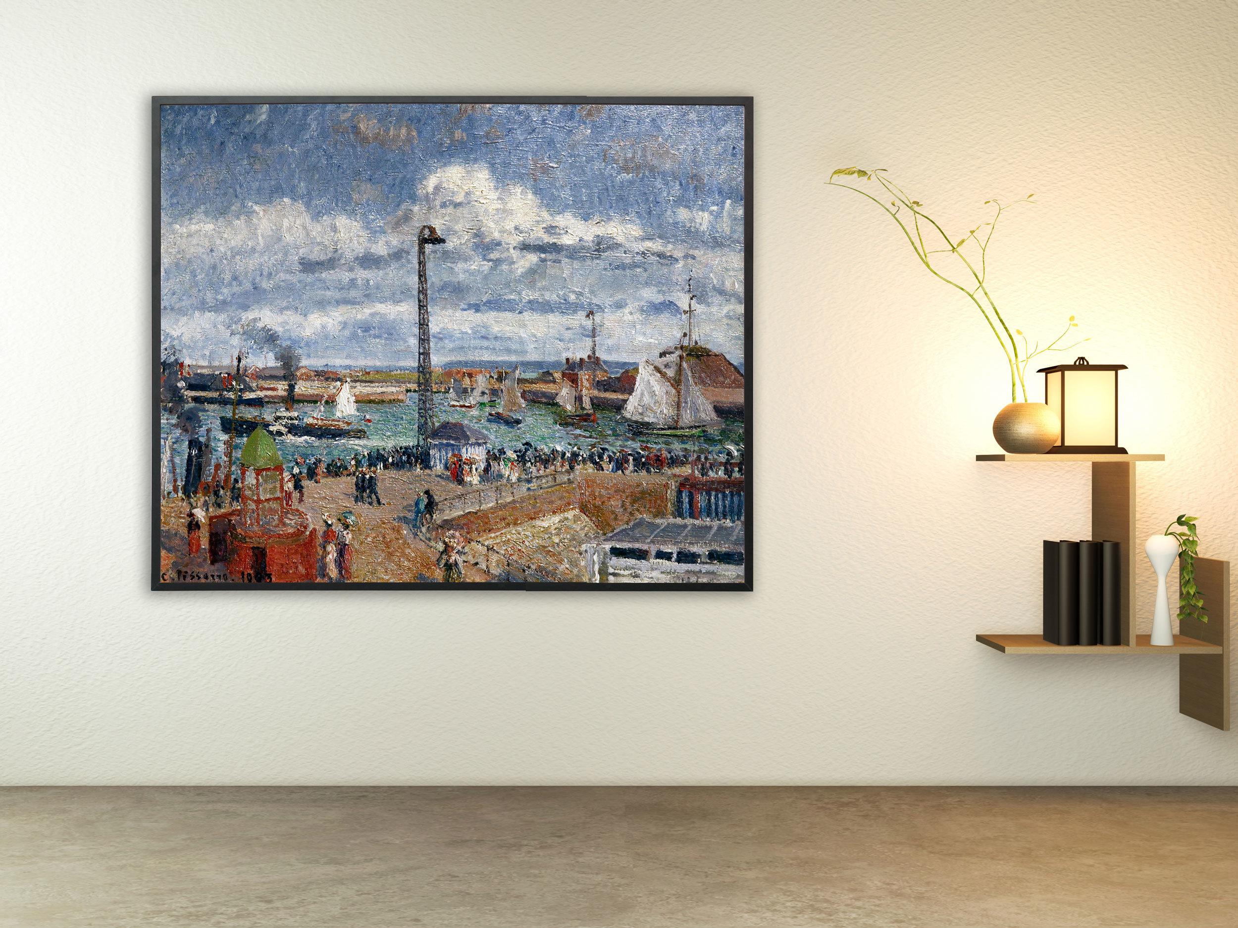 Camille Pissarro - L´Anse des Pilotes et le brise lames est, Bilderrahmen schwarz