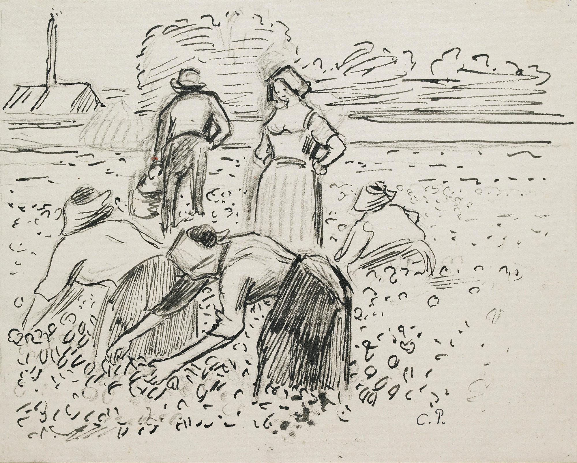Camille Pissarro - Study of five peasant figures working in a field, 1887, Bilderrahmen weiß