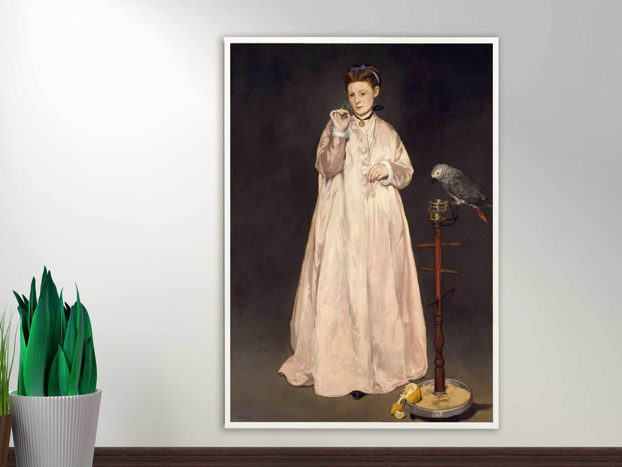 Edouard Manet - Young Lady in 1866, 1866, Bilderrahmen weiß